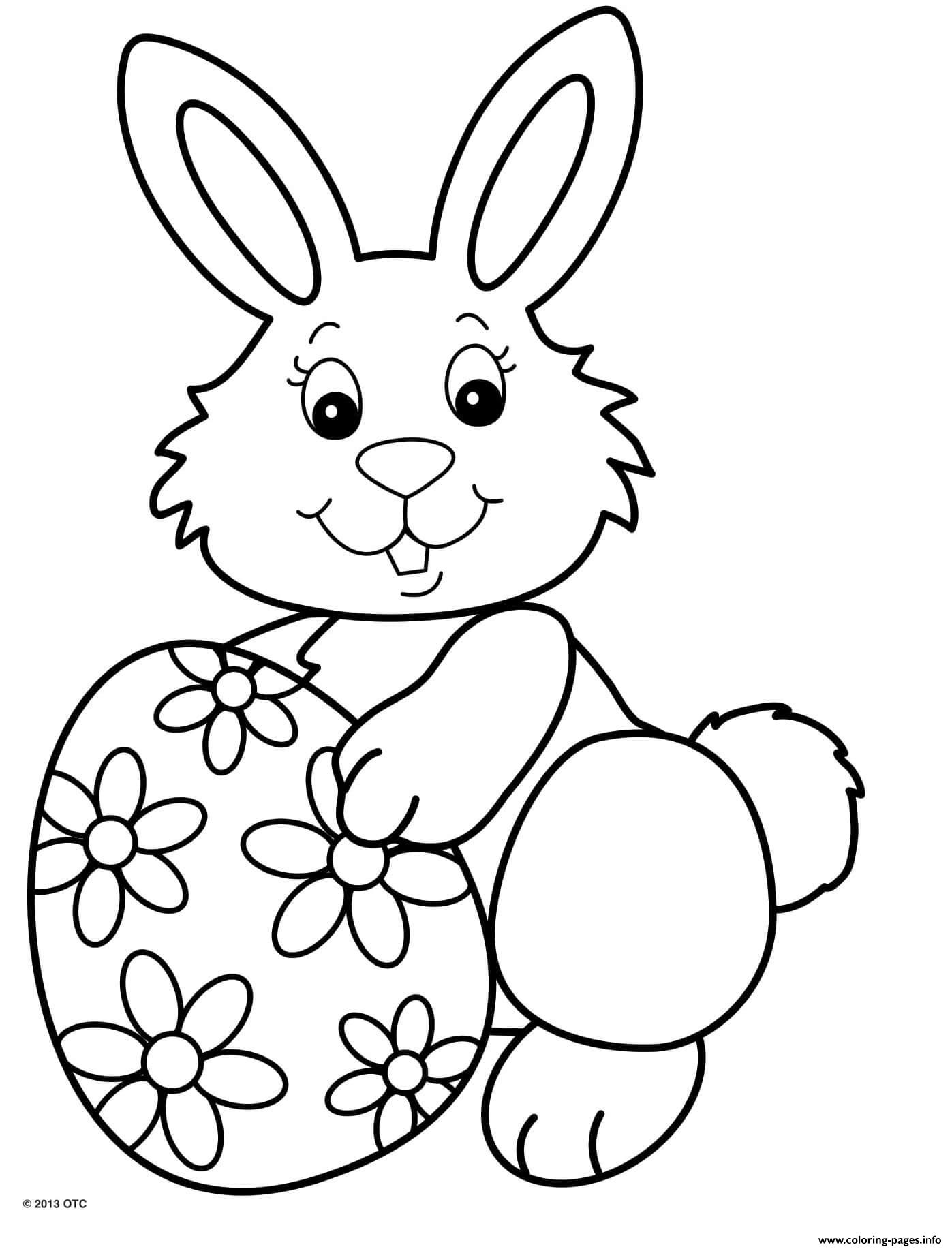 Cute Smile Rabbit With One Egg Flower Pattern Coloring ...