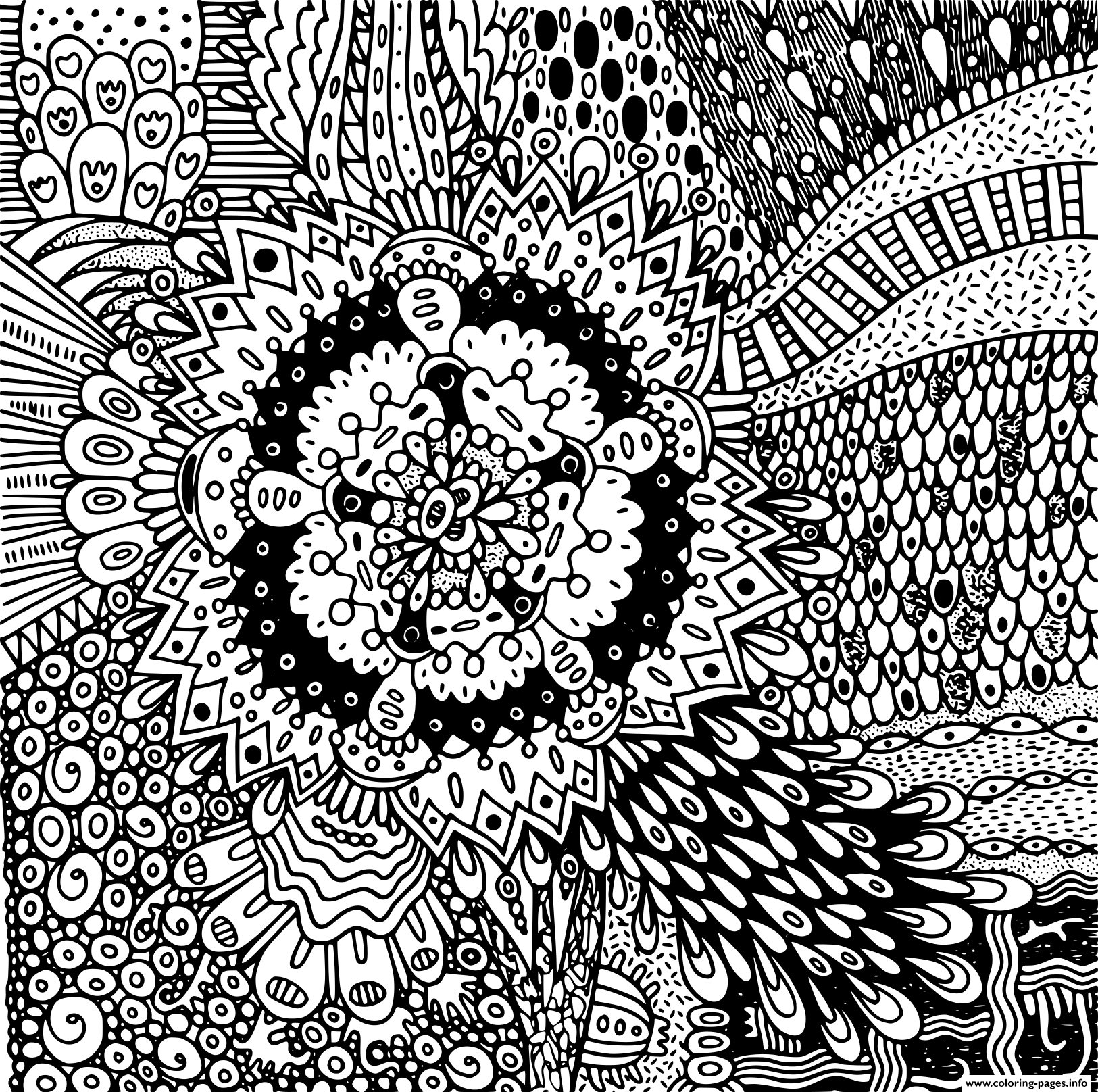 Mandala Flower Psychedelic coloring pages