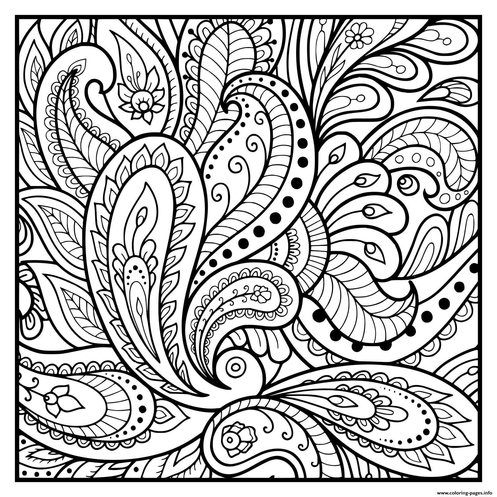 Square Mandala Flowers Floral Pattern Coloring Pages Printable