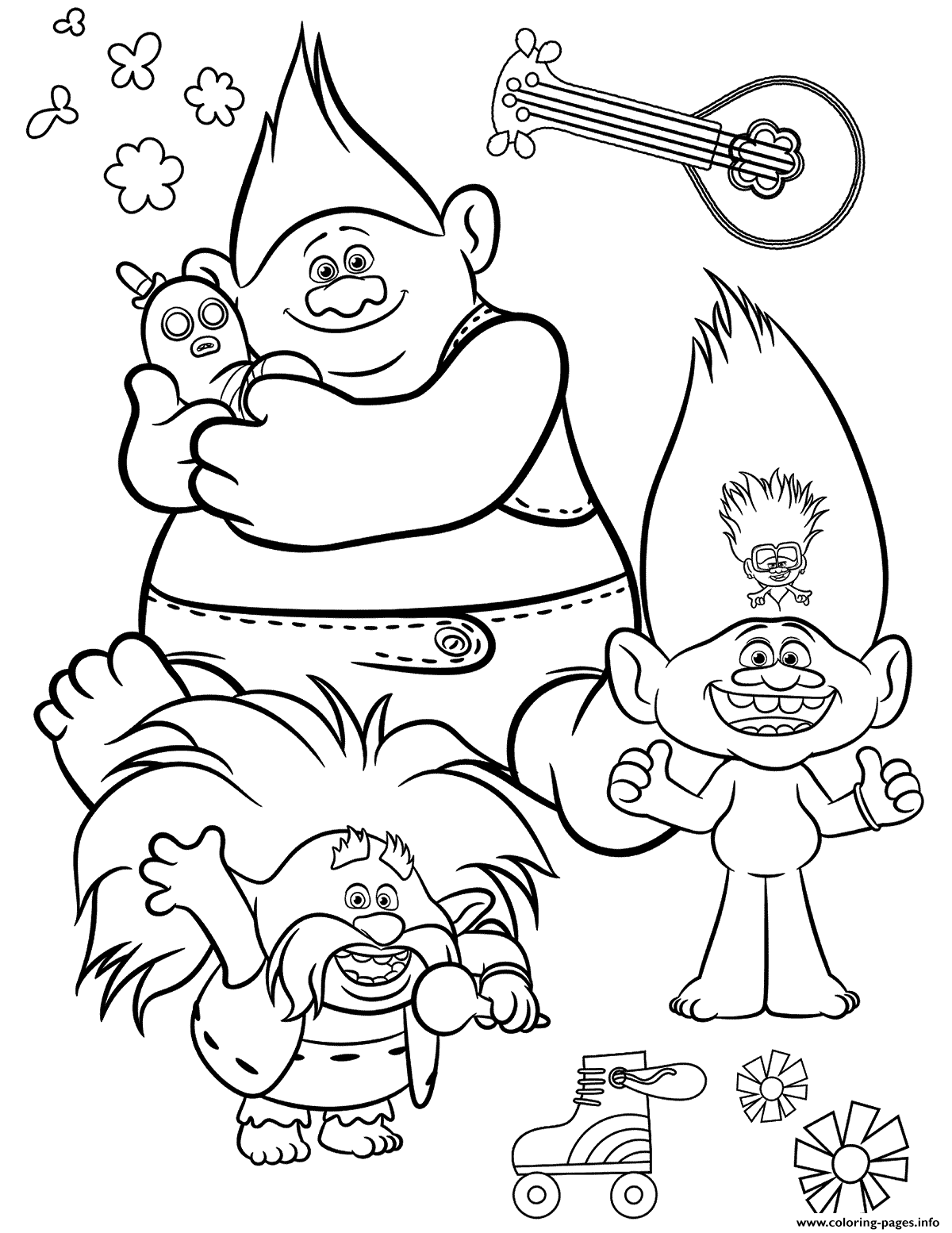 Free Trolls 2 World Tour Coloring Pages Printable