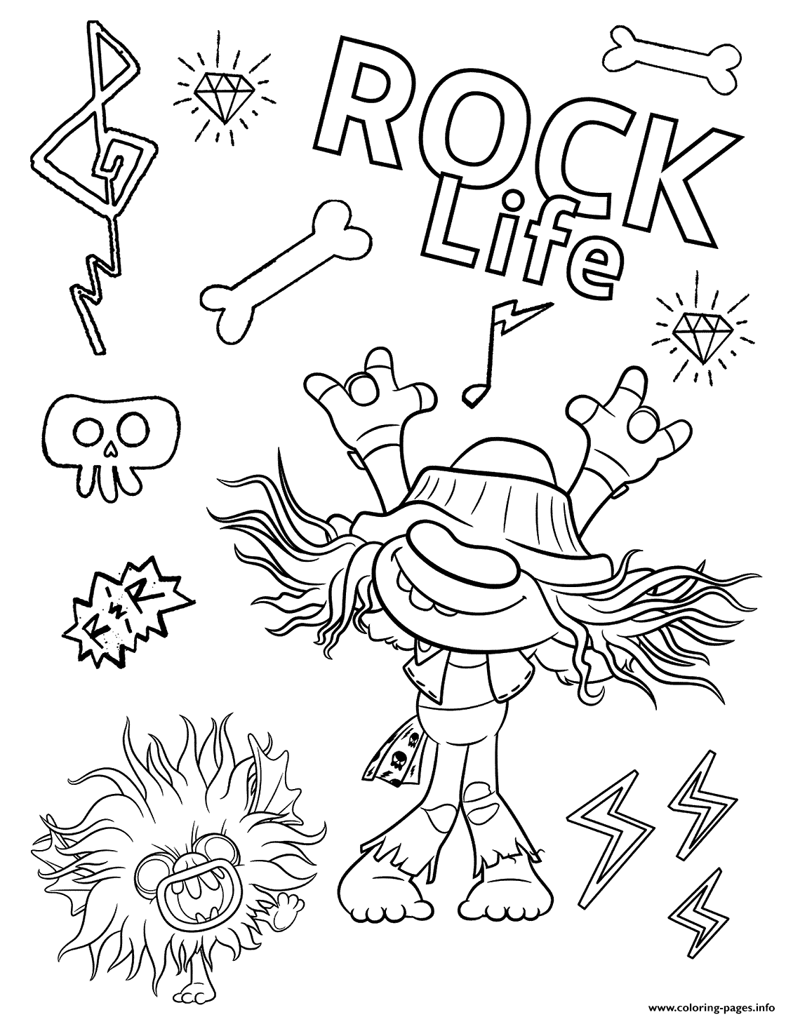 Hard Rock Trolls 2 Coloring Pages Printable