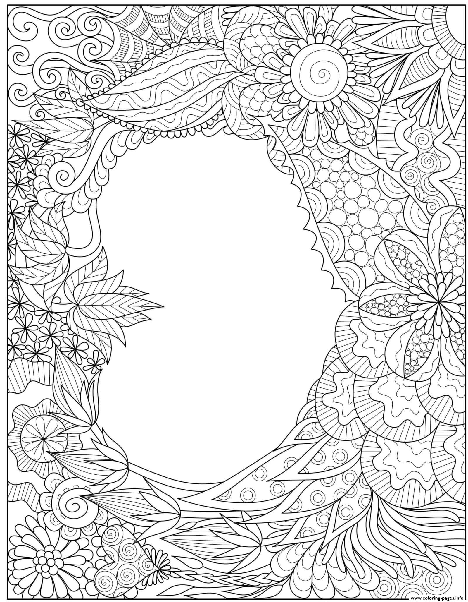 Mothers Day Heart Intricate Doodle Border Coloring Pages