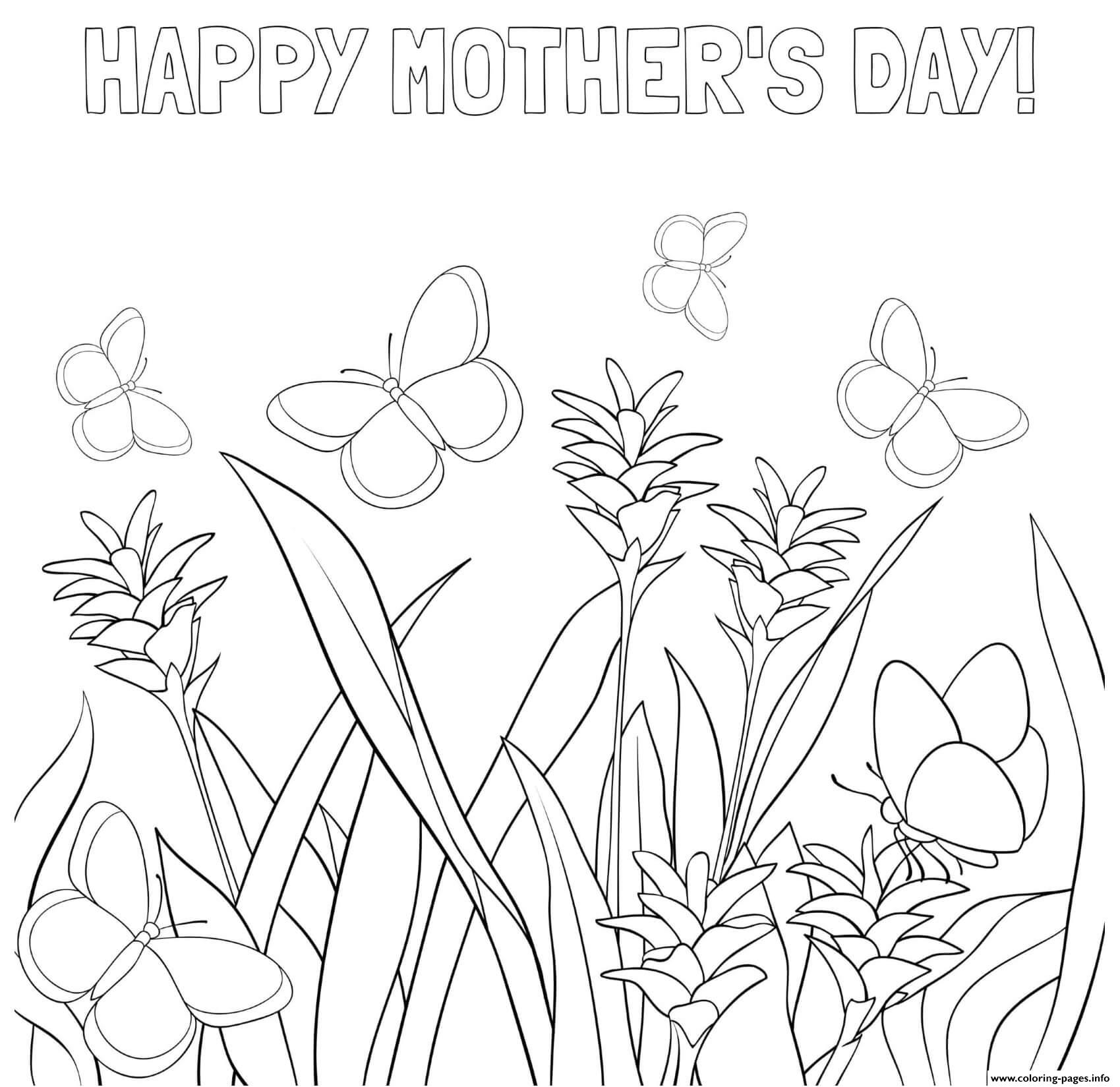 Mothers Day Flowers Butterflies Meadow Coloring Pages