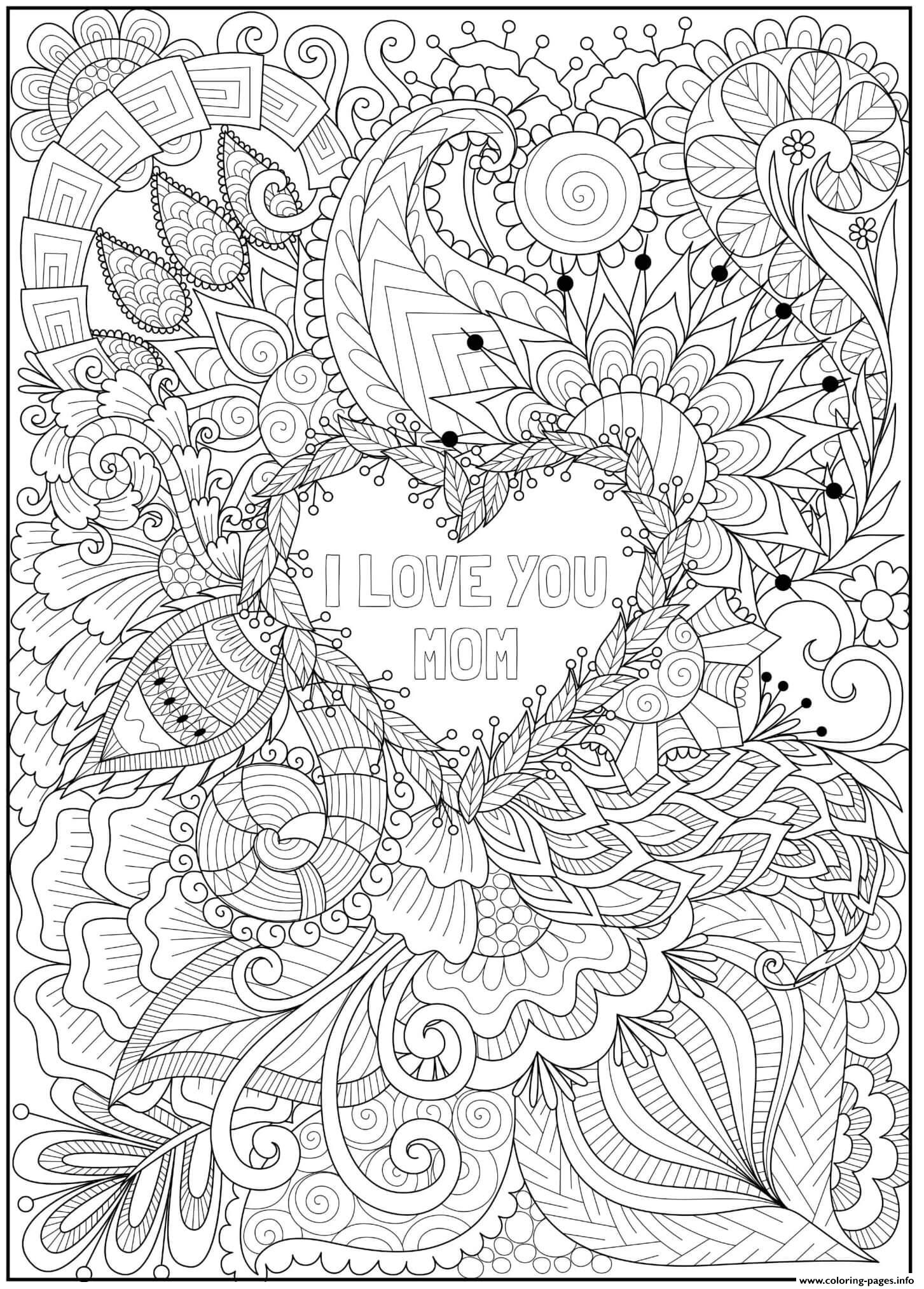 Mothers Day Heart Intricate Doodle Love You Mom Coloring Pages Printable