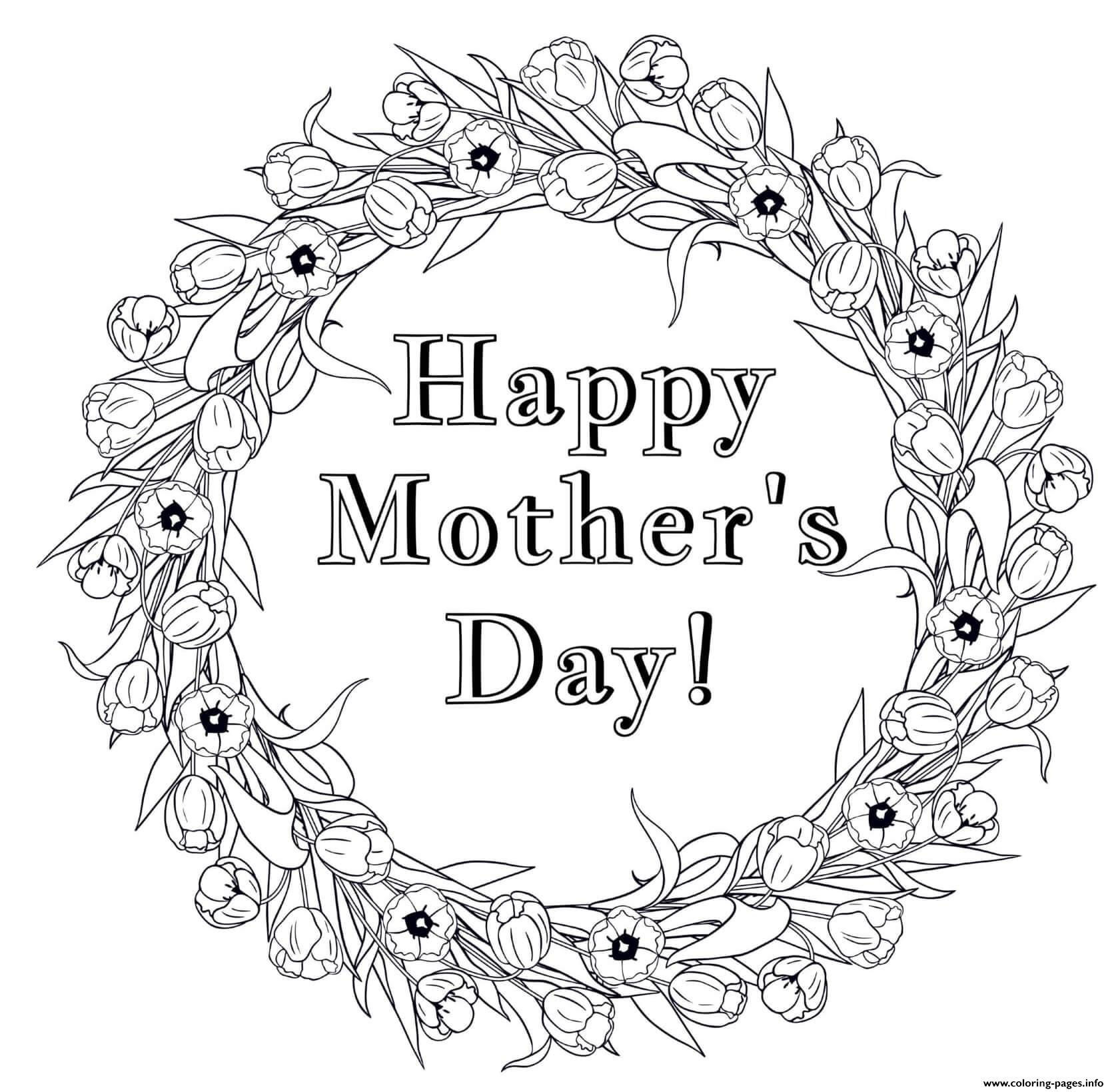 Mothers Day Flower Wreath Coloring Pages Printable
