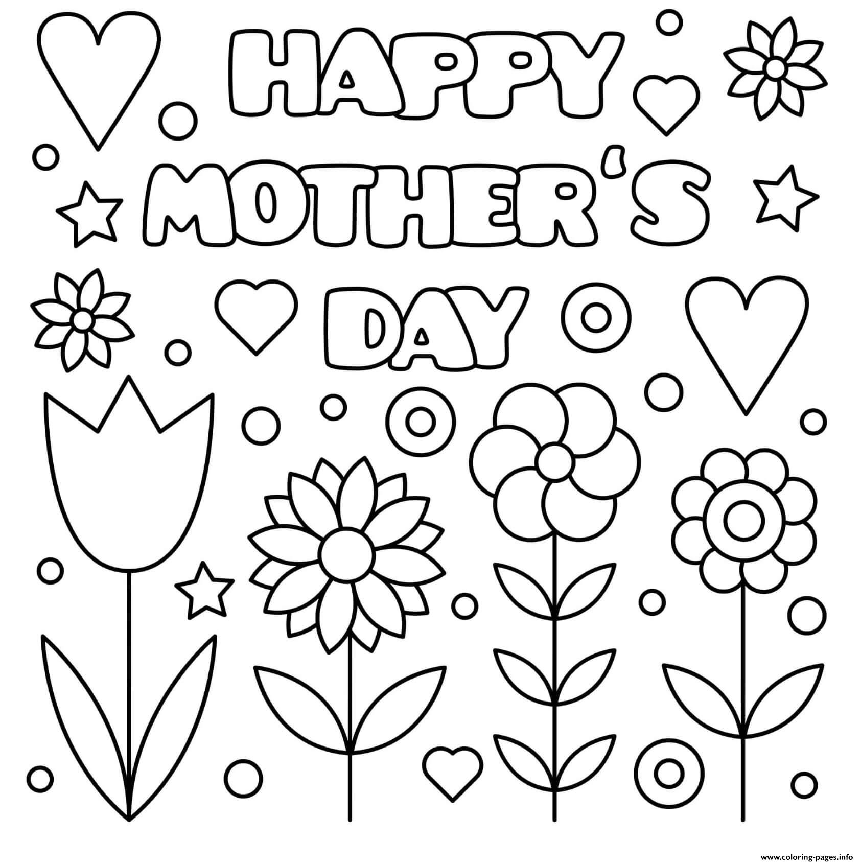 Mothers Day Happy Tulips Flowers Hearts Sign Coloring Pages Printable
