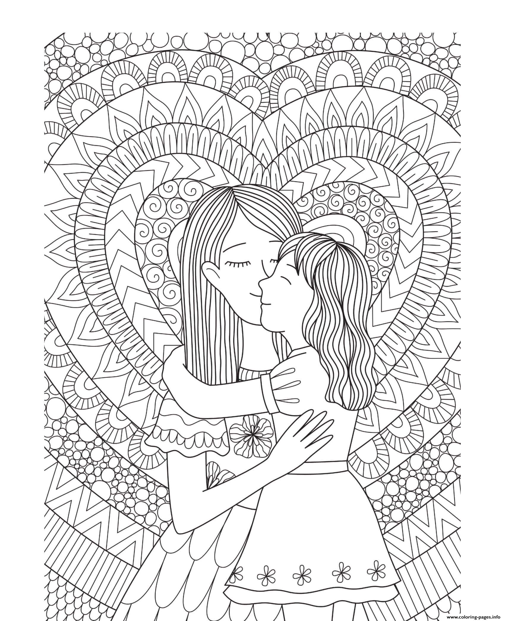 Mothers Day Mother Daughter Heart Intricate Doodle ...