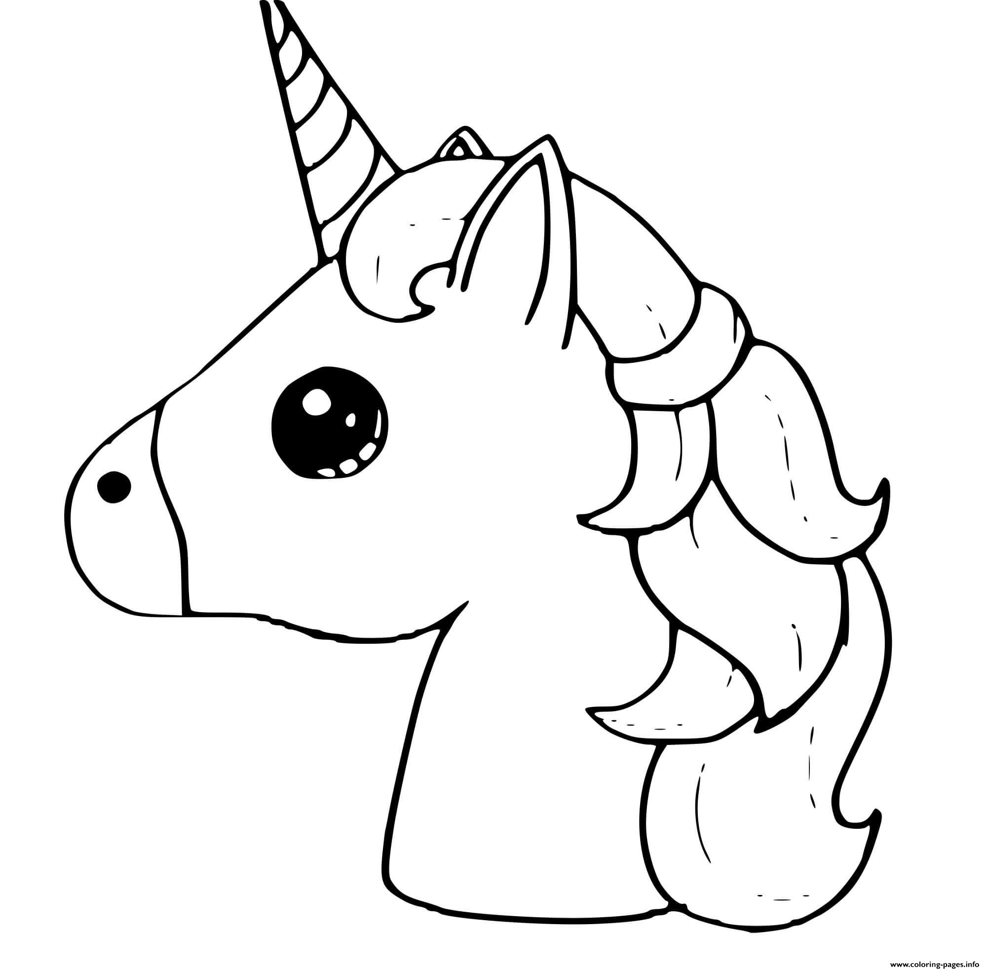 Cute Unicorn Emoji Kawaii coloring pages