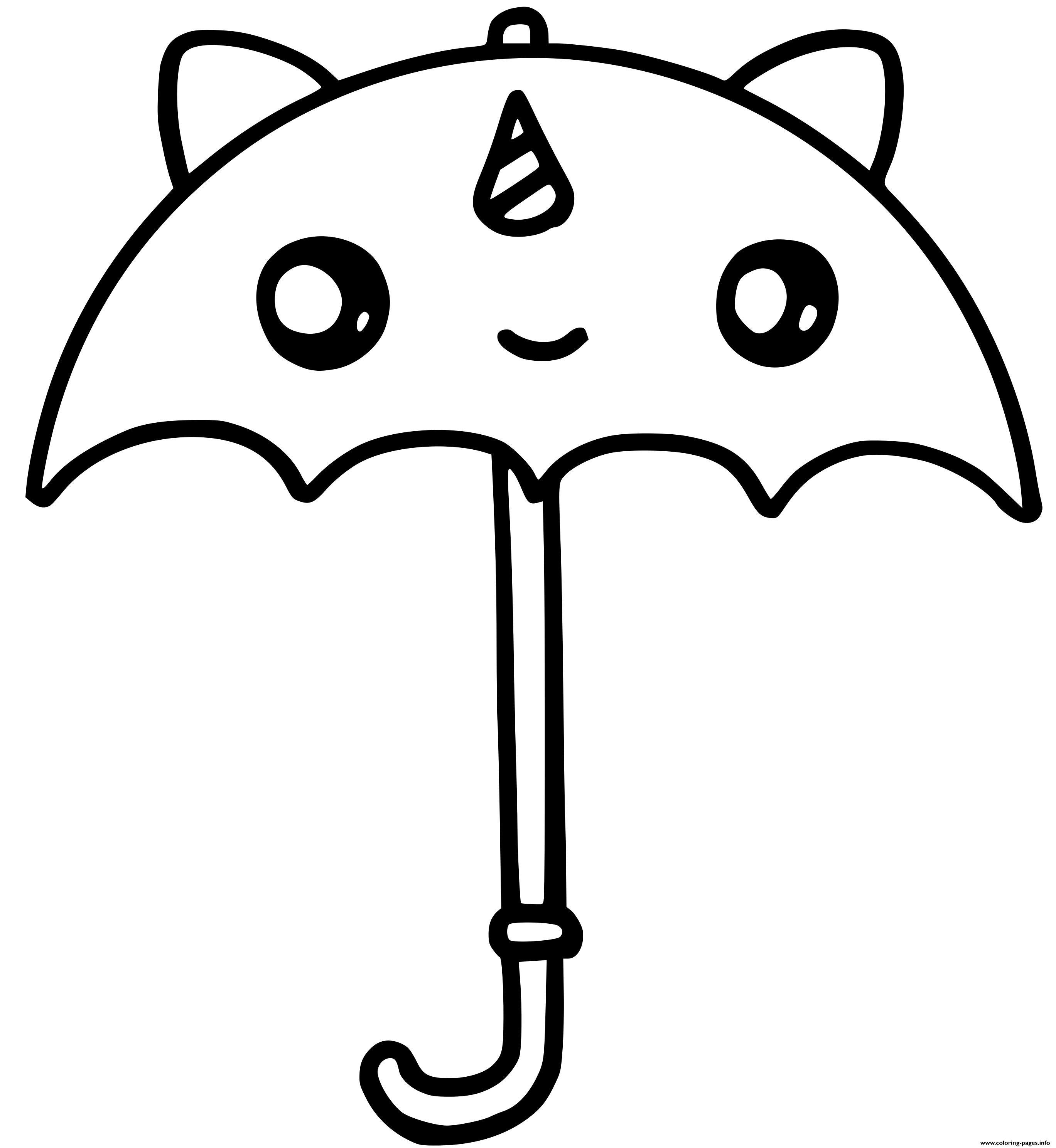 Cute Unicorn Umbrella Kawaii Coloring Pages Printable
