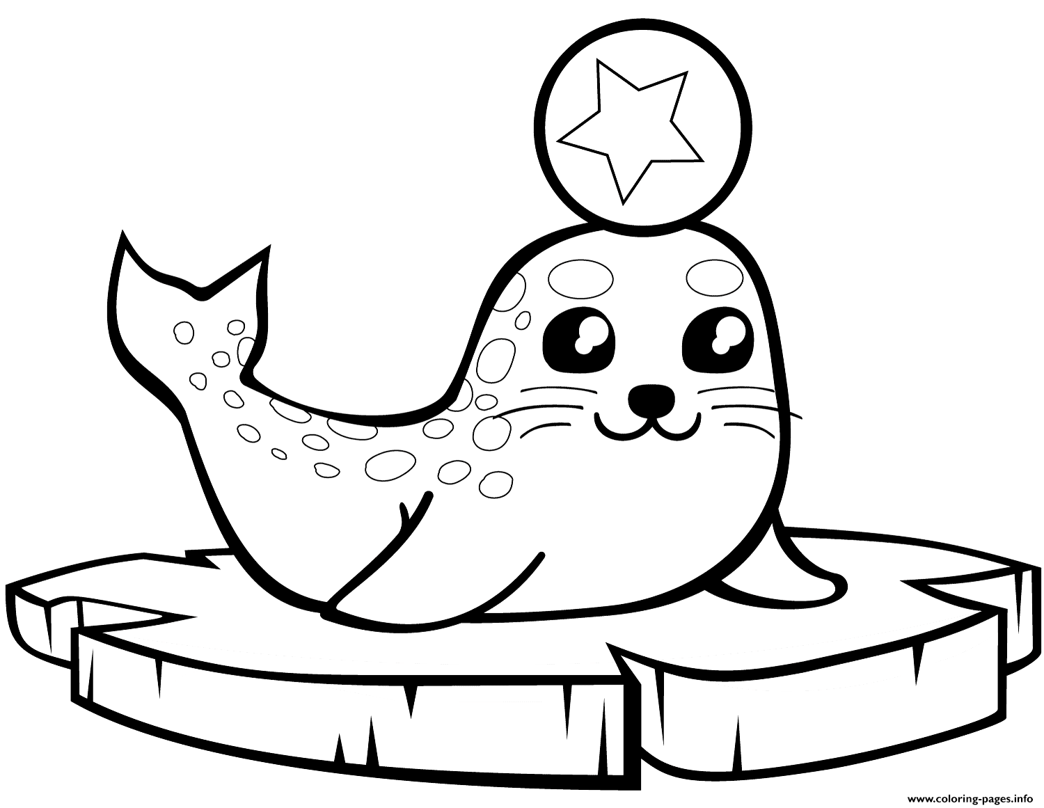 Baby Seal On An Ice Floe Coloring Pages Printable