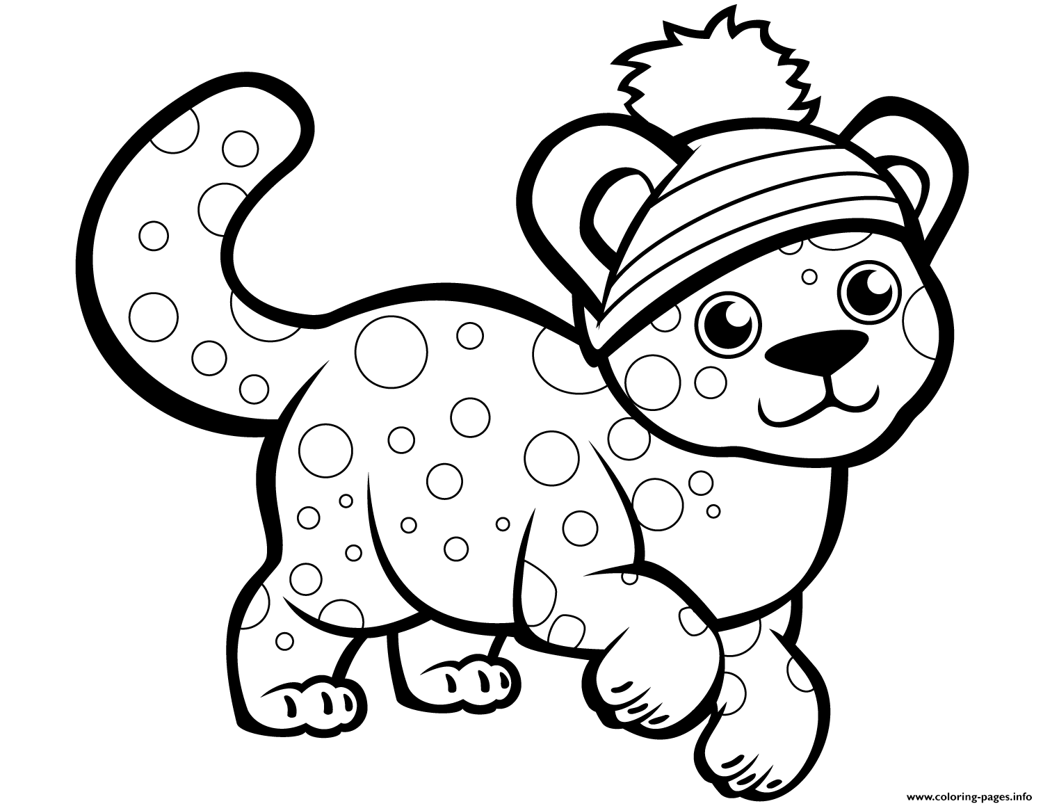 Cute Cheetah In Winter Hat Coloring Pages Printable
