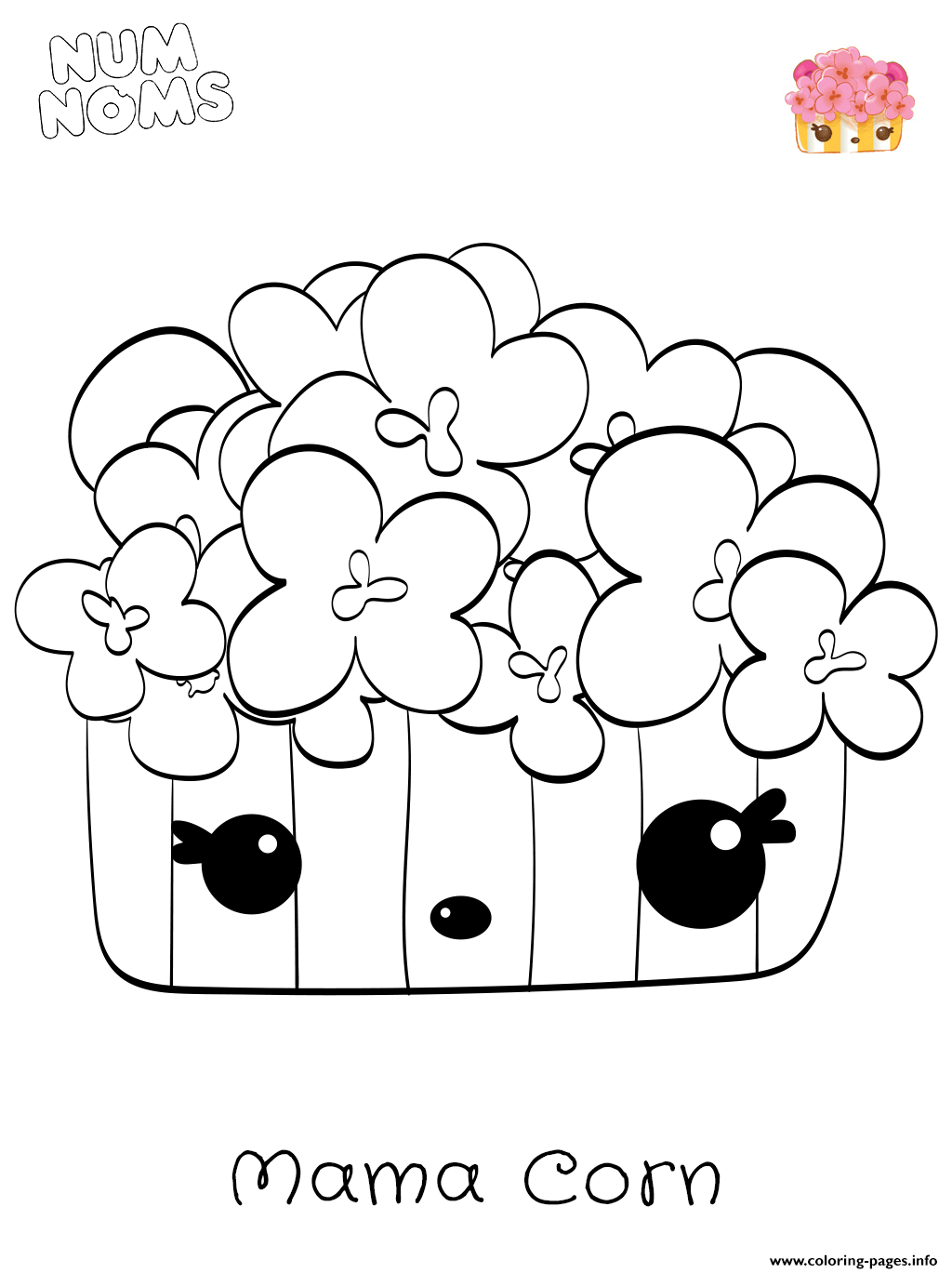 Num Noms Mama Corn From Season 2 Coloring Pages Printable