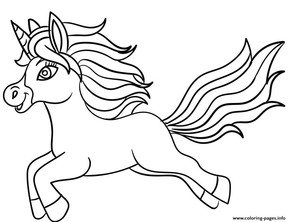 Cartoon Rainbow Unicorn A4 Coloring Pages Printable
