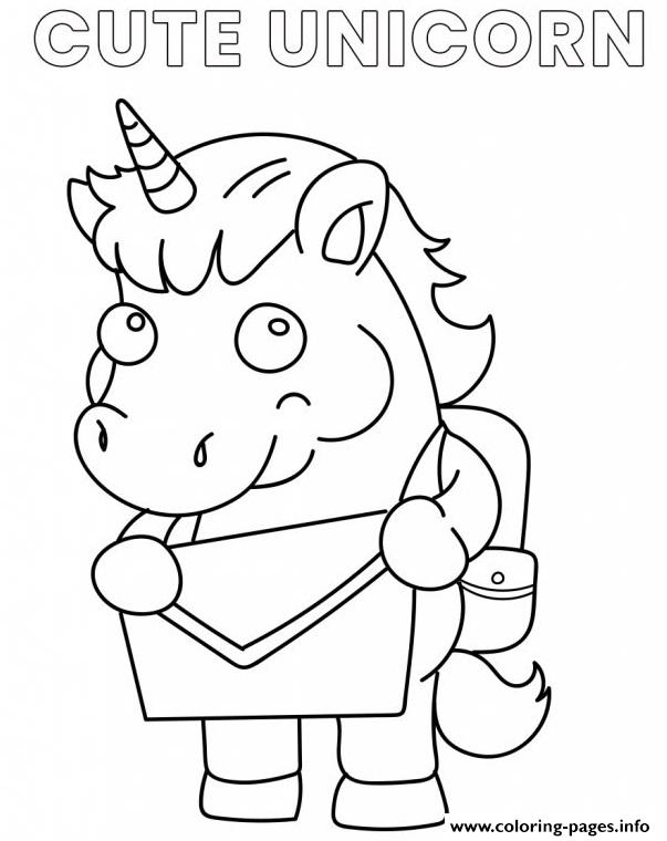 Cute Unicorn Cartoon Going To School coloring pages