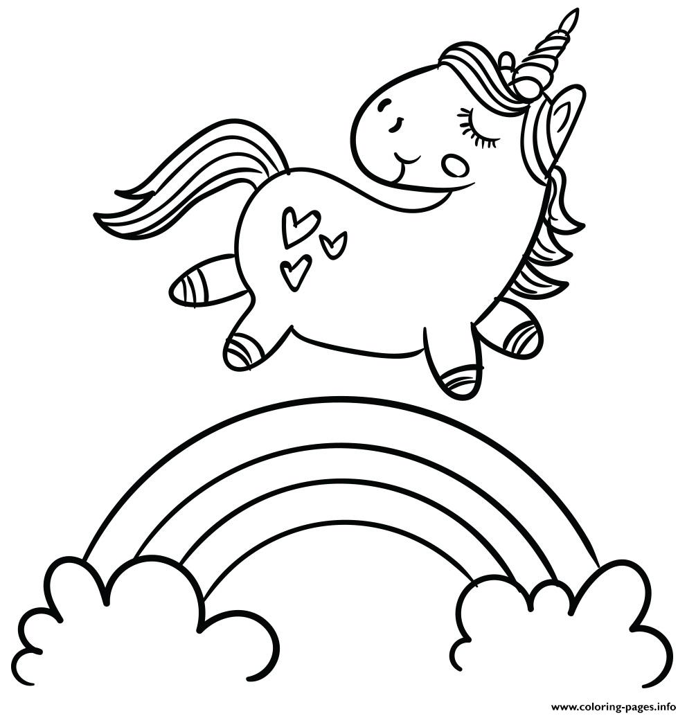 Magic Cute Unicorn Walking On Rainbow A4 Coloring Pages ...