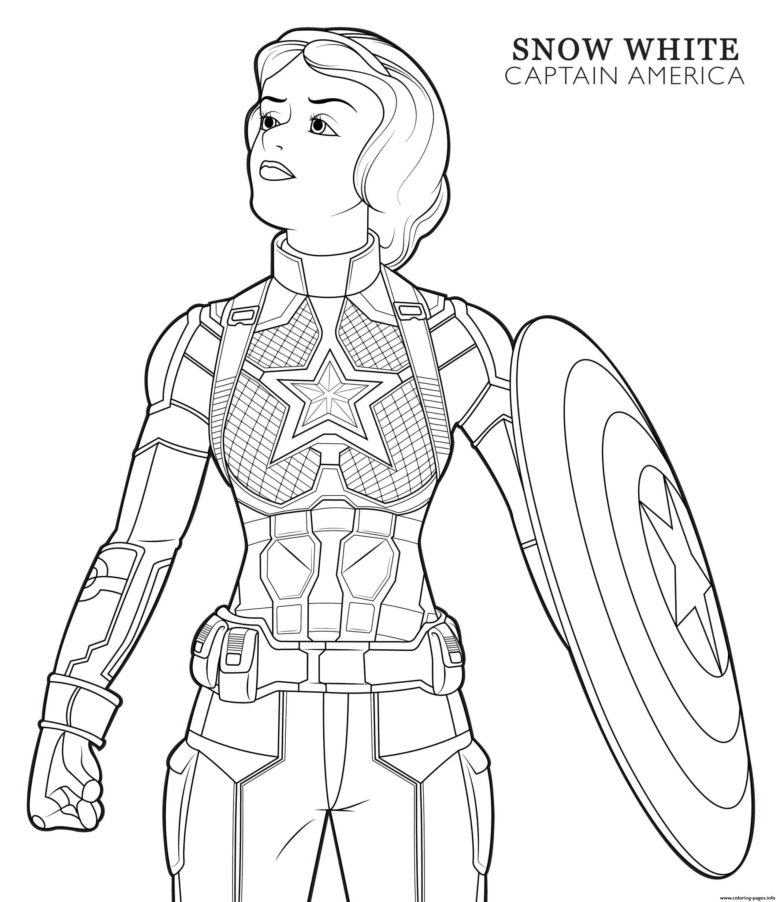 Captain America Snow White Disney Avengers coloring pages