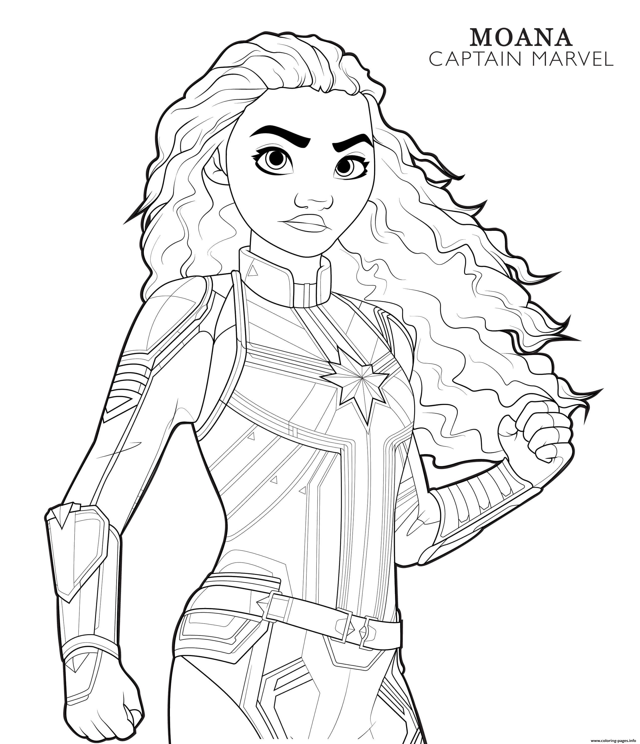 Captain Marvel Moana Disney Avengers coloring pages