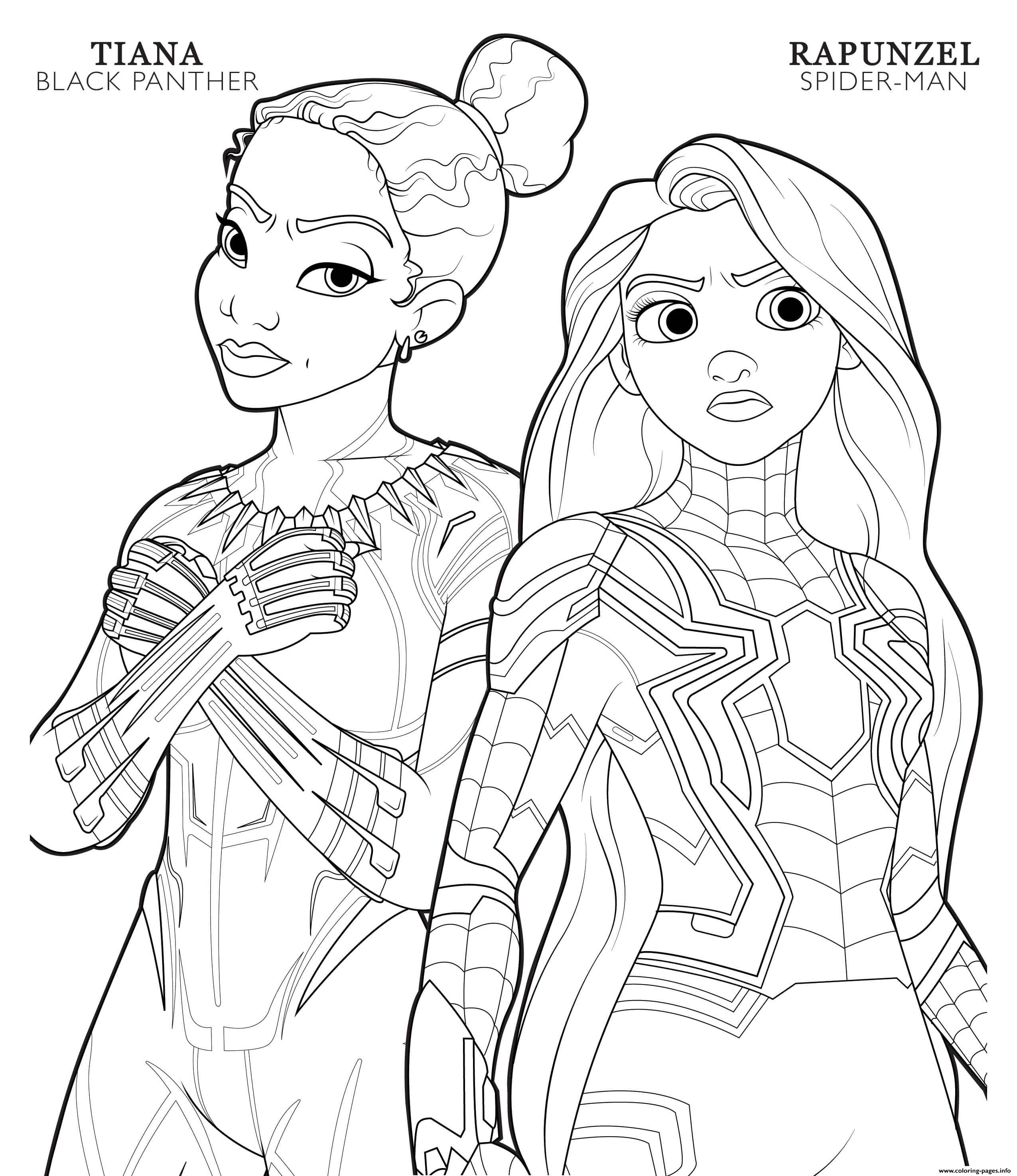 Black Panther Tiana And Spider Man Rapunzel Disney Avengers coloring pages