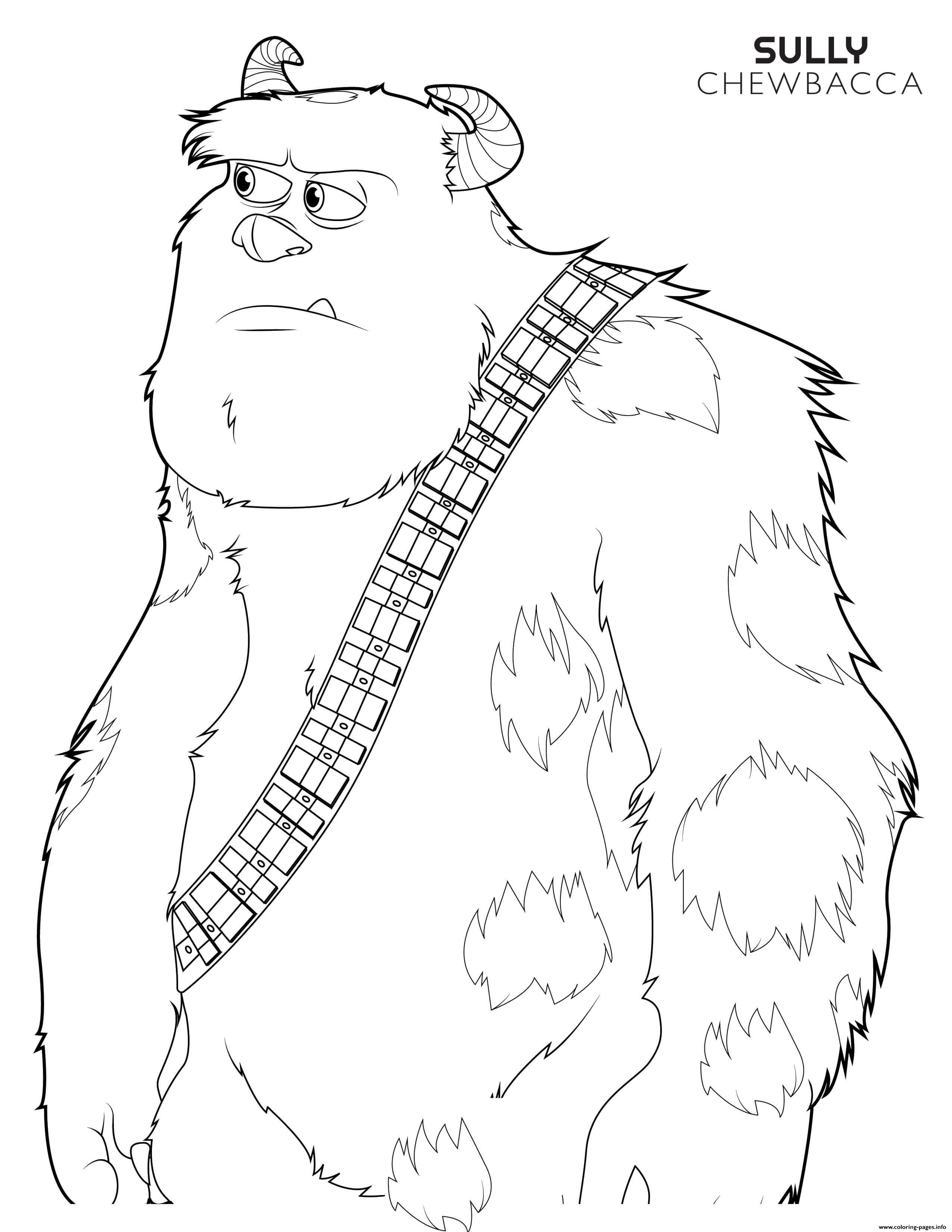 Chewbacca Sulley Disney Star Wars coloring pages