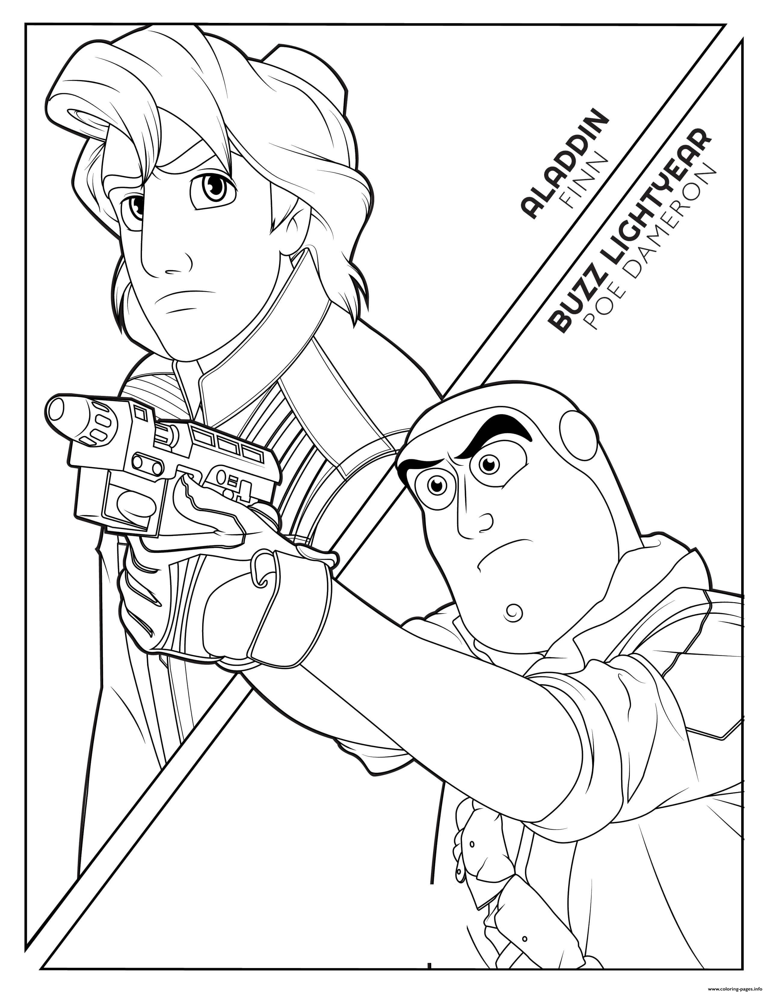 Finn Aladdin Poe Buzz Lightyear Disney Star Wars coloring pages