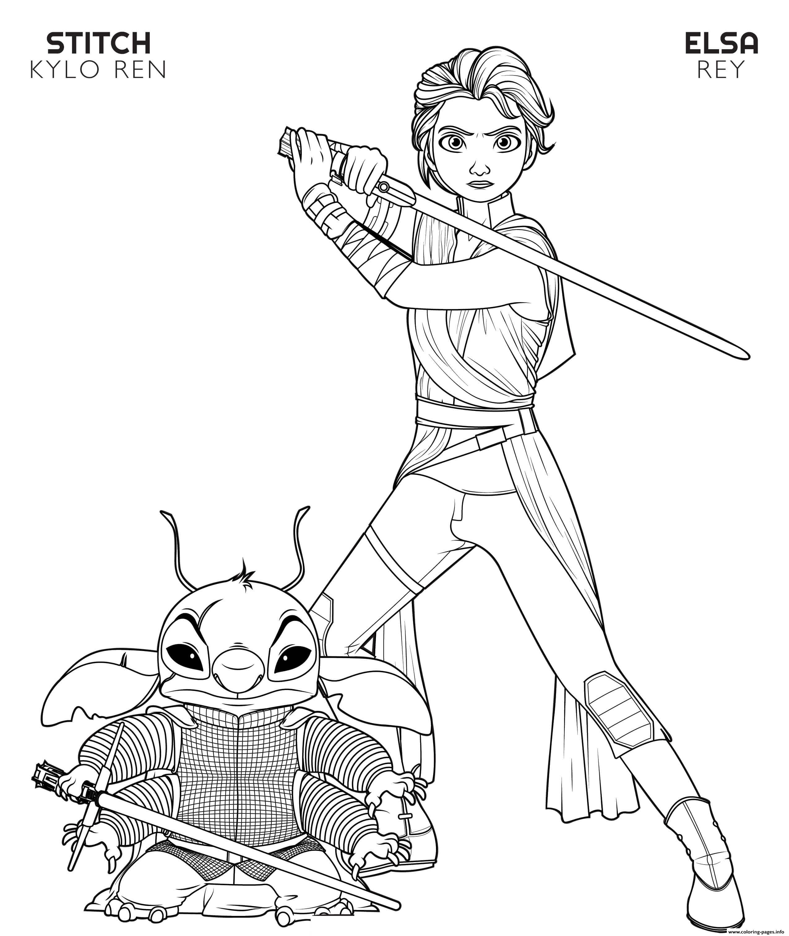 Rey Elsa And Kylo Ren Stitch Disney Star Wars Coloring
