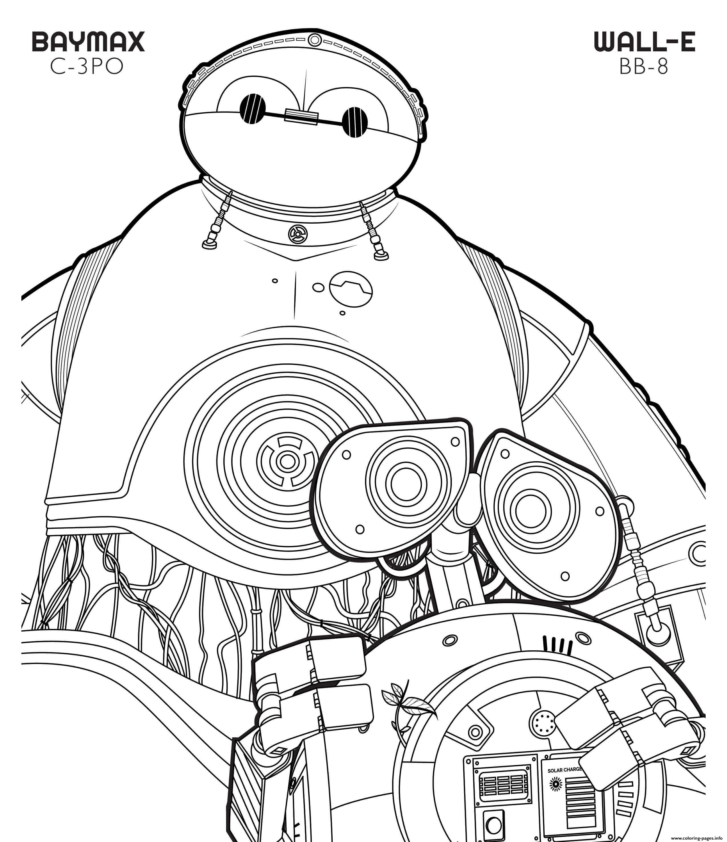 Bb 8 Wall E And C 3po Baymax Disney Star Wars coloring pages