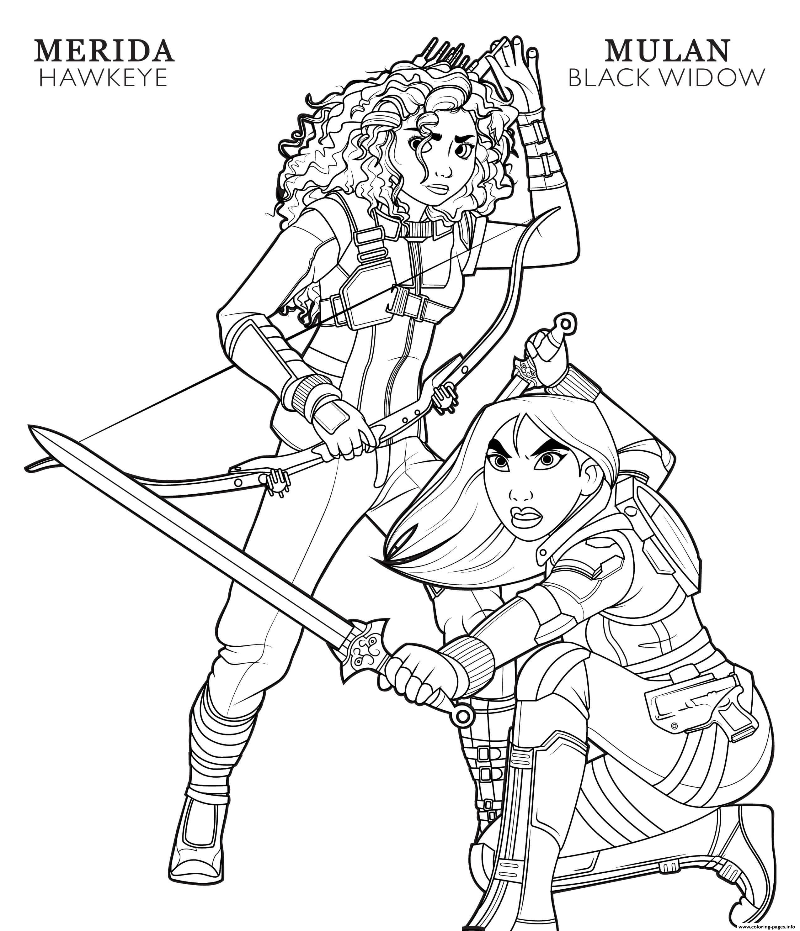 Hawkeye Merida And Black Widow Mulan Disney Avengers coloring pages