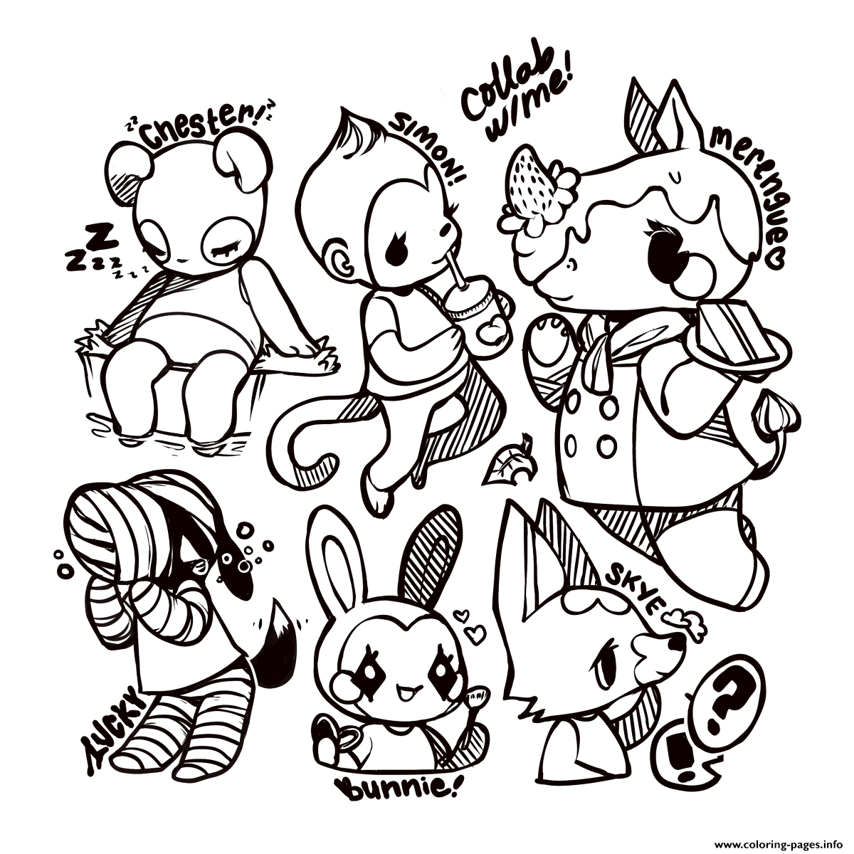 Little Cute Animal Crossing Coloring Pages Printable