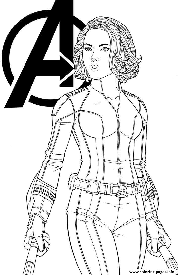 Black Widow Marvel Girl Coloring Pages Printable