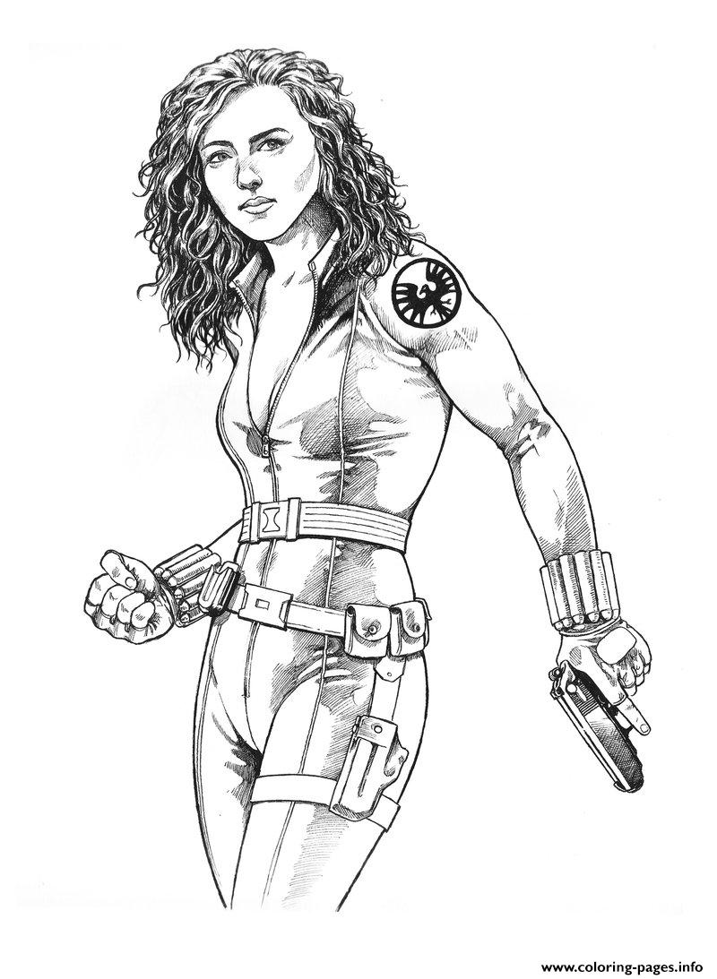 Realistic Black Widow coloring pages