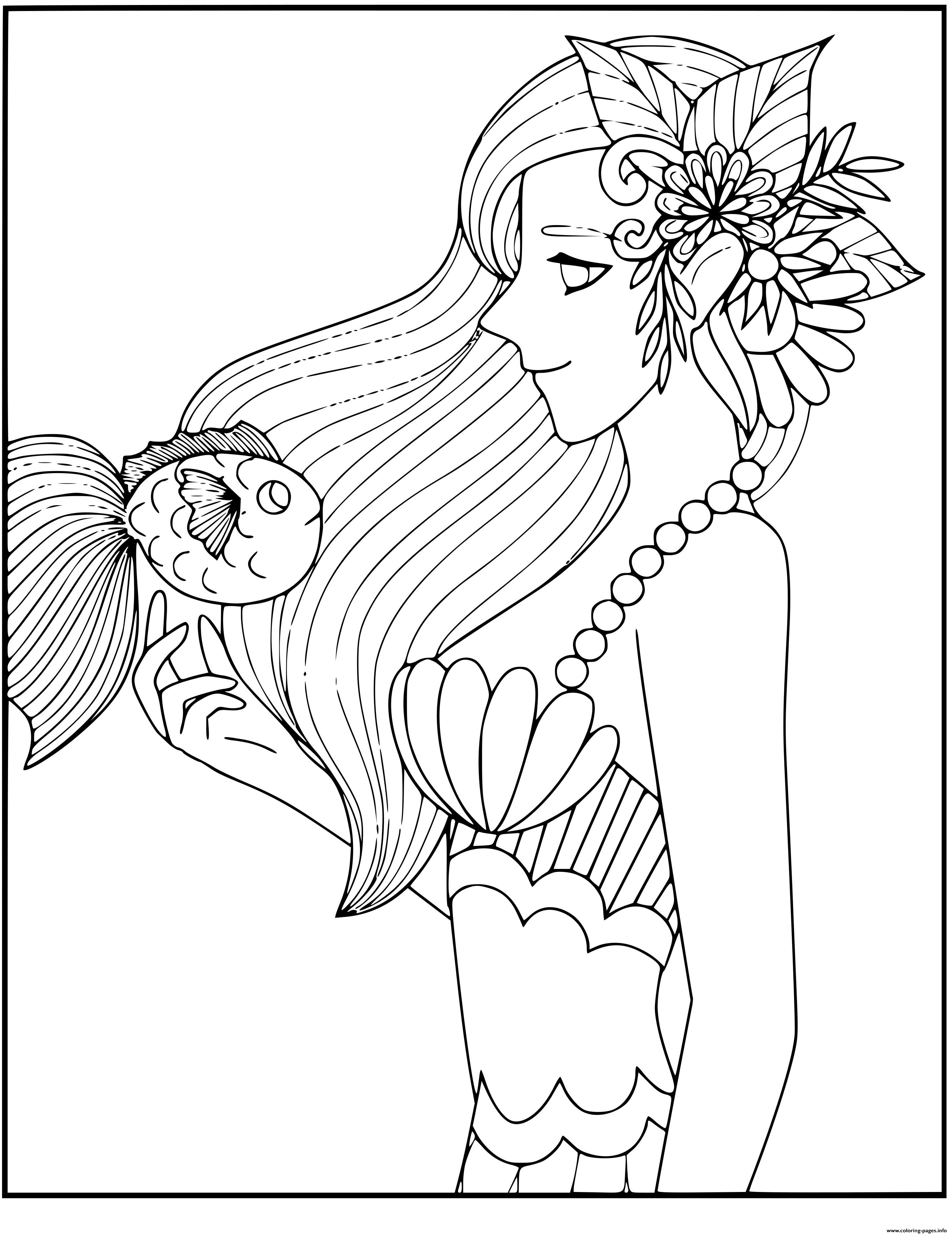 Smart Mermaid With A Fish Friend coloring pages