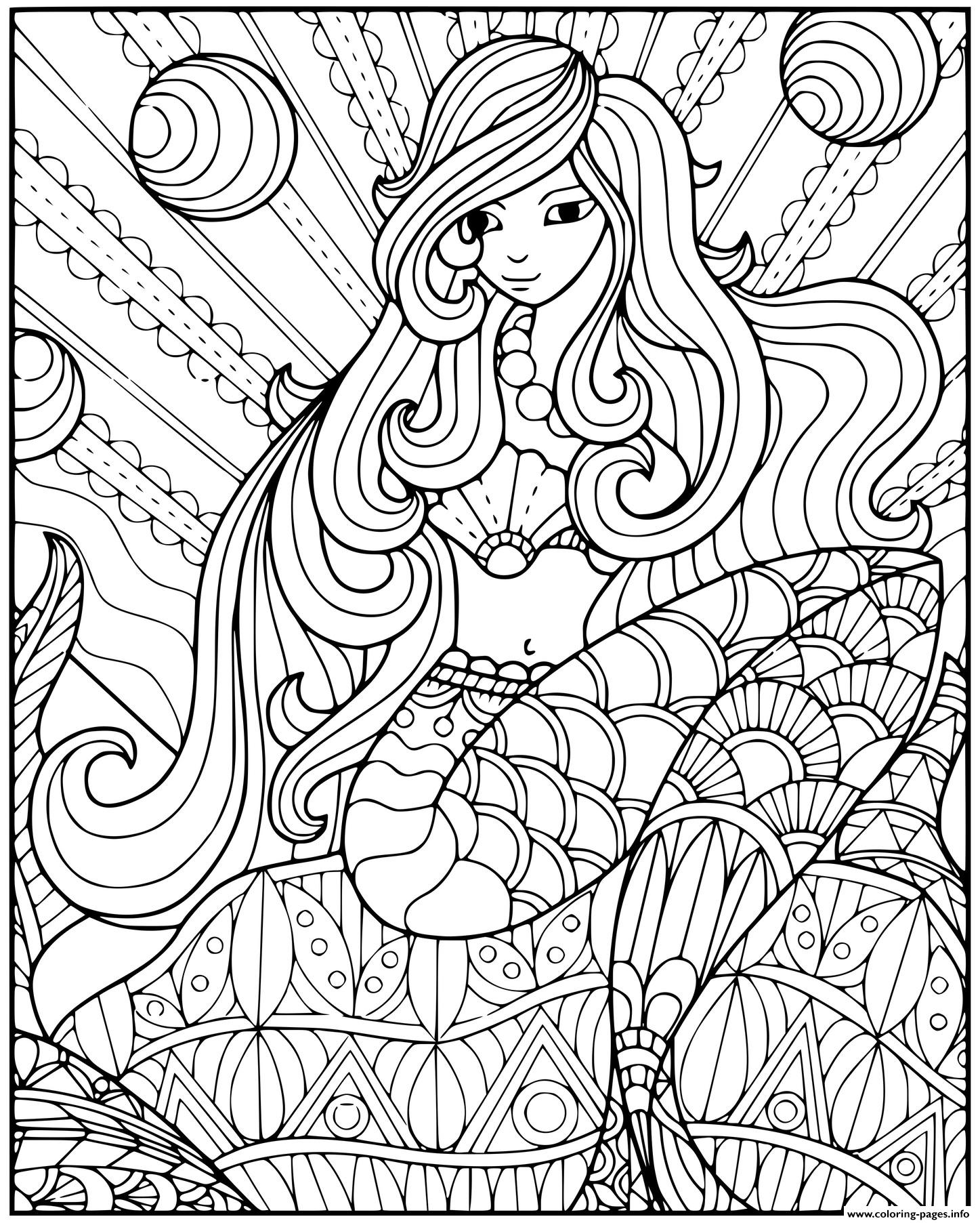 Enchanting Mermaid With Lots Of Patterns coloring pages