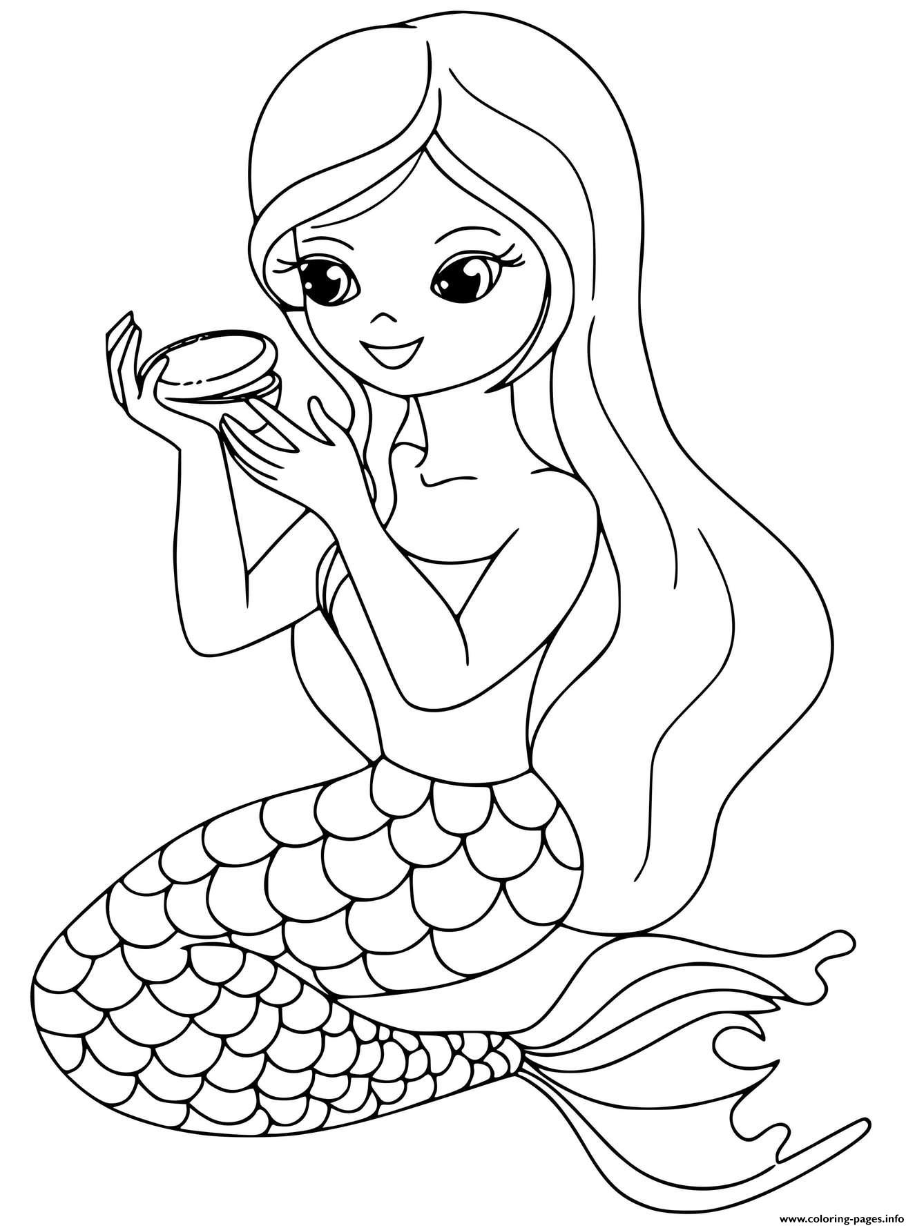 Mermaid Makeup Girl Time Coloring Pages Printable