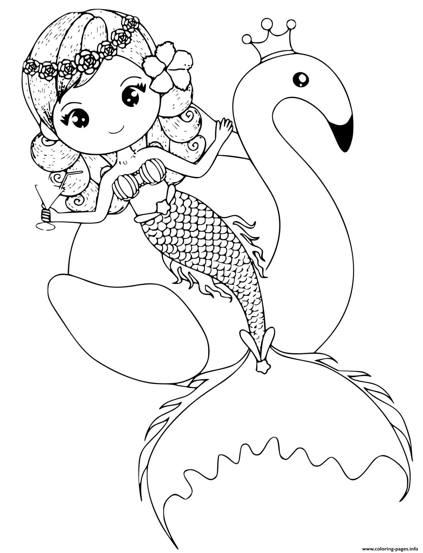 Kind Little Tropical Mermaid With A Flamingo coloring pages