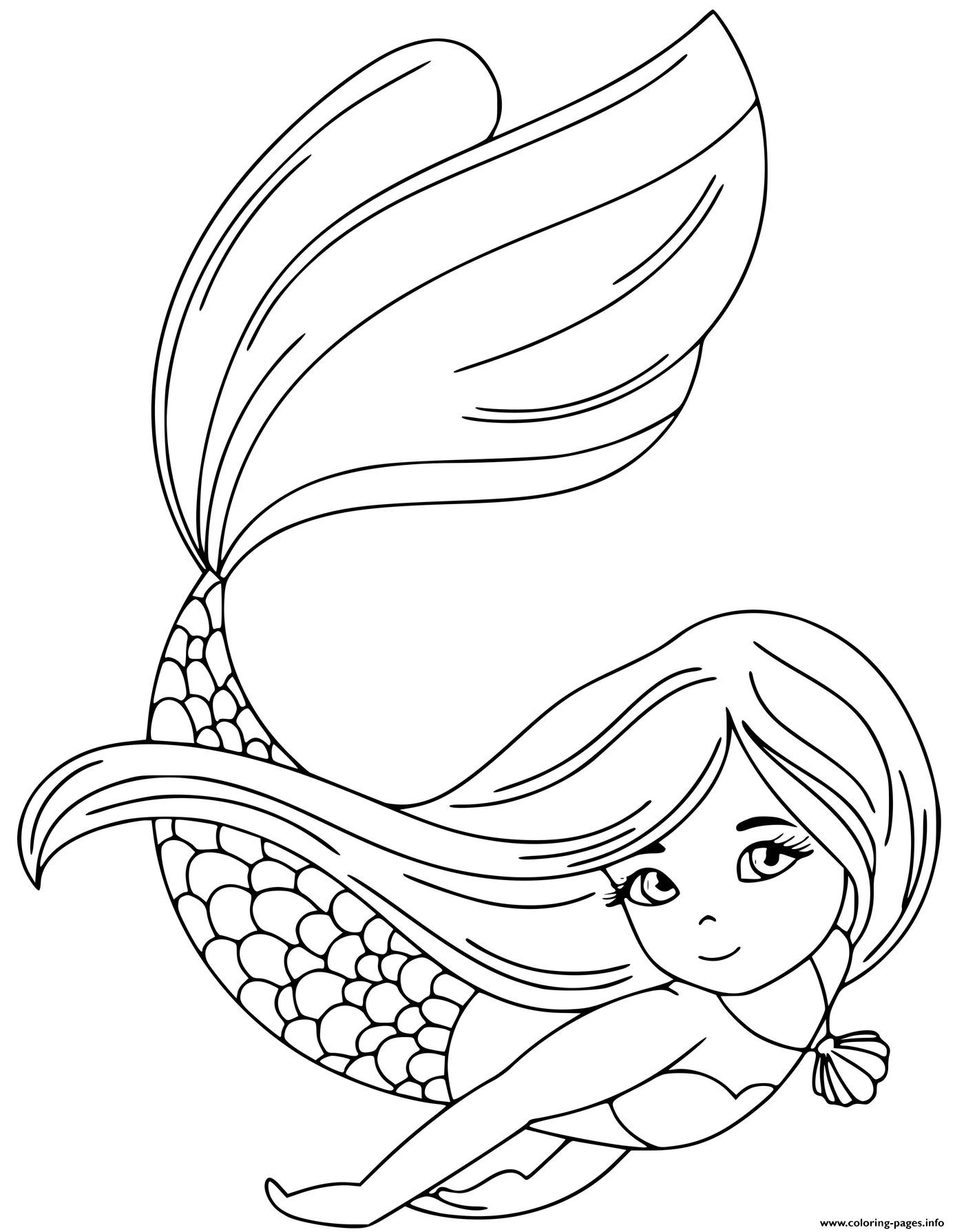 Strong Swimming Princess Mermaid Underwater coloring pages