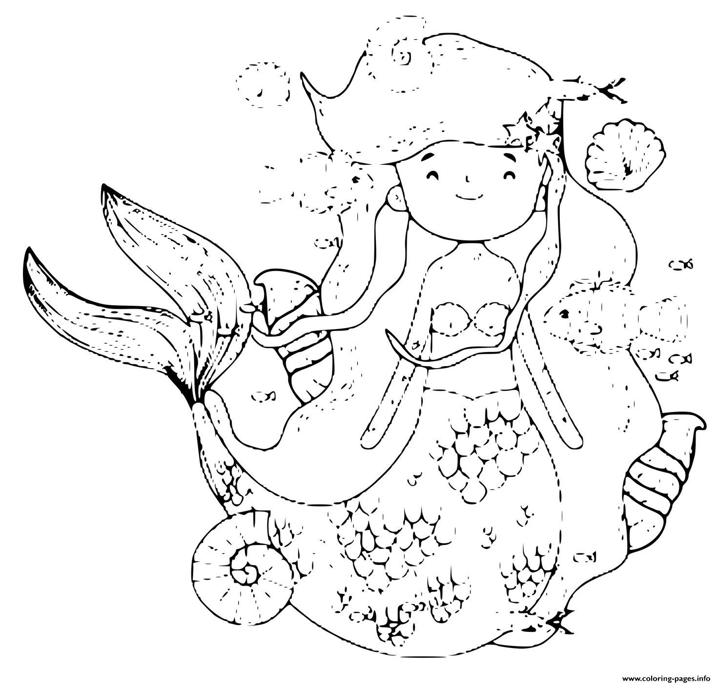 Sweet Little Mermaid Surrounded By Fish And Sea Creatures coloring pages