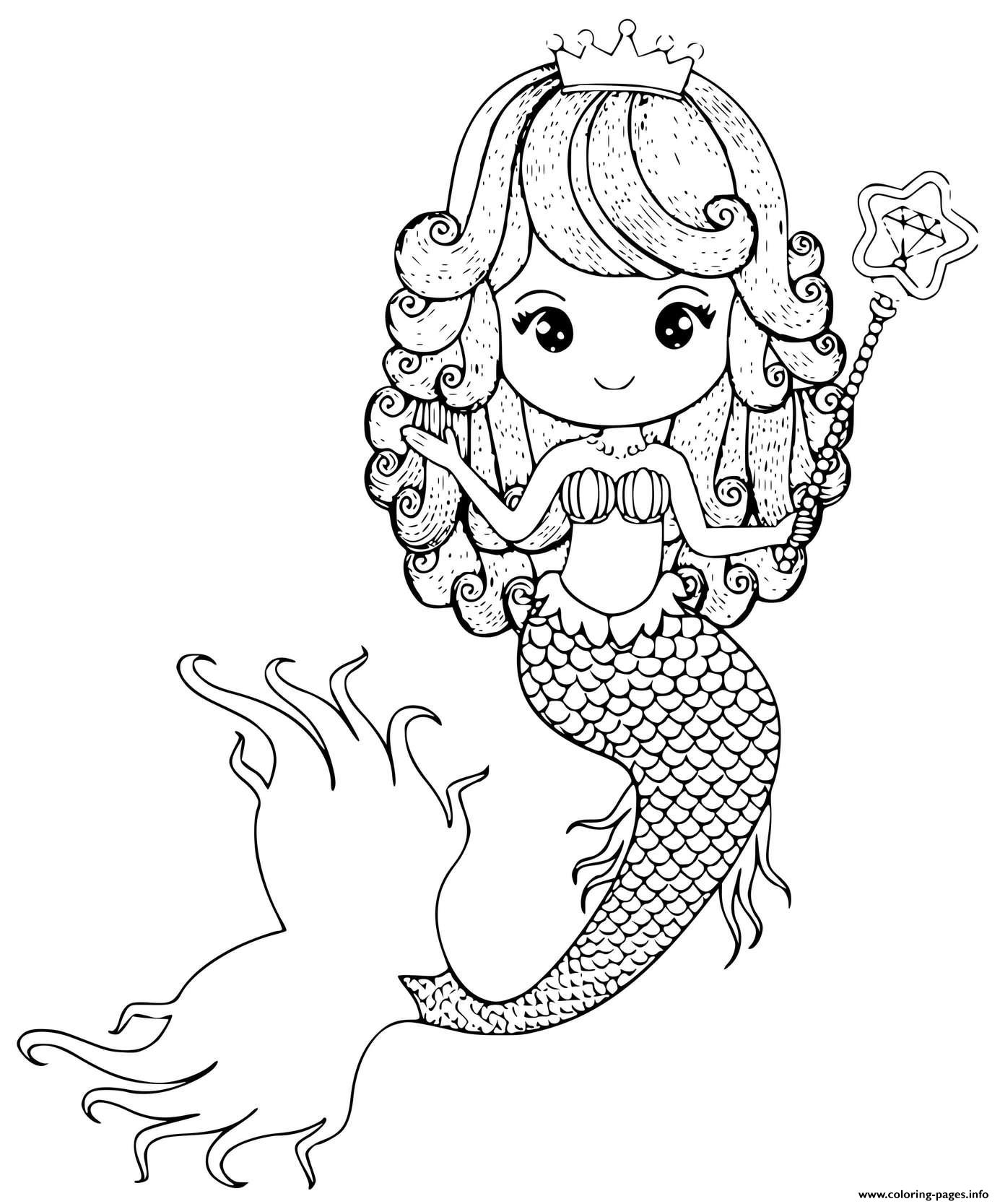 Mermaid Princess With A Wand And Crown coloring pages
