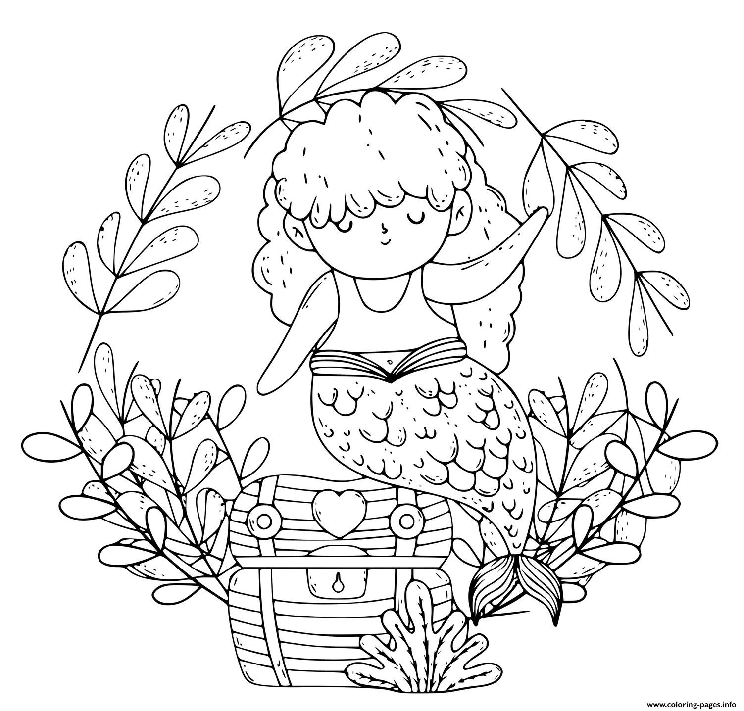 Little Mermaid Girl With A Treasure Chest coloring pages