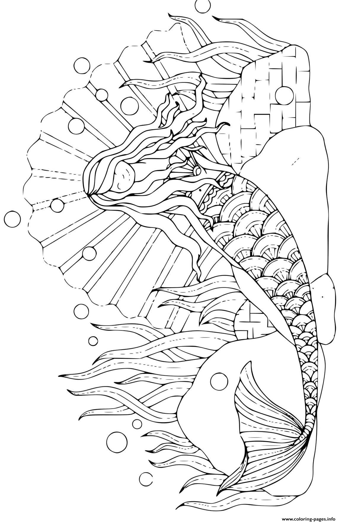 Beautiful Printable Mermaid With Long Flowing Hair coloring pages