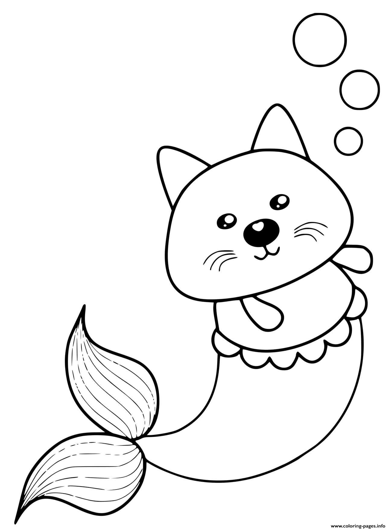 Kitty Mermaid Cat Cute coloring pages