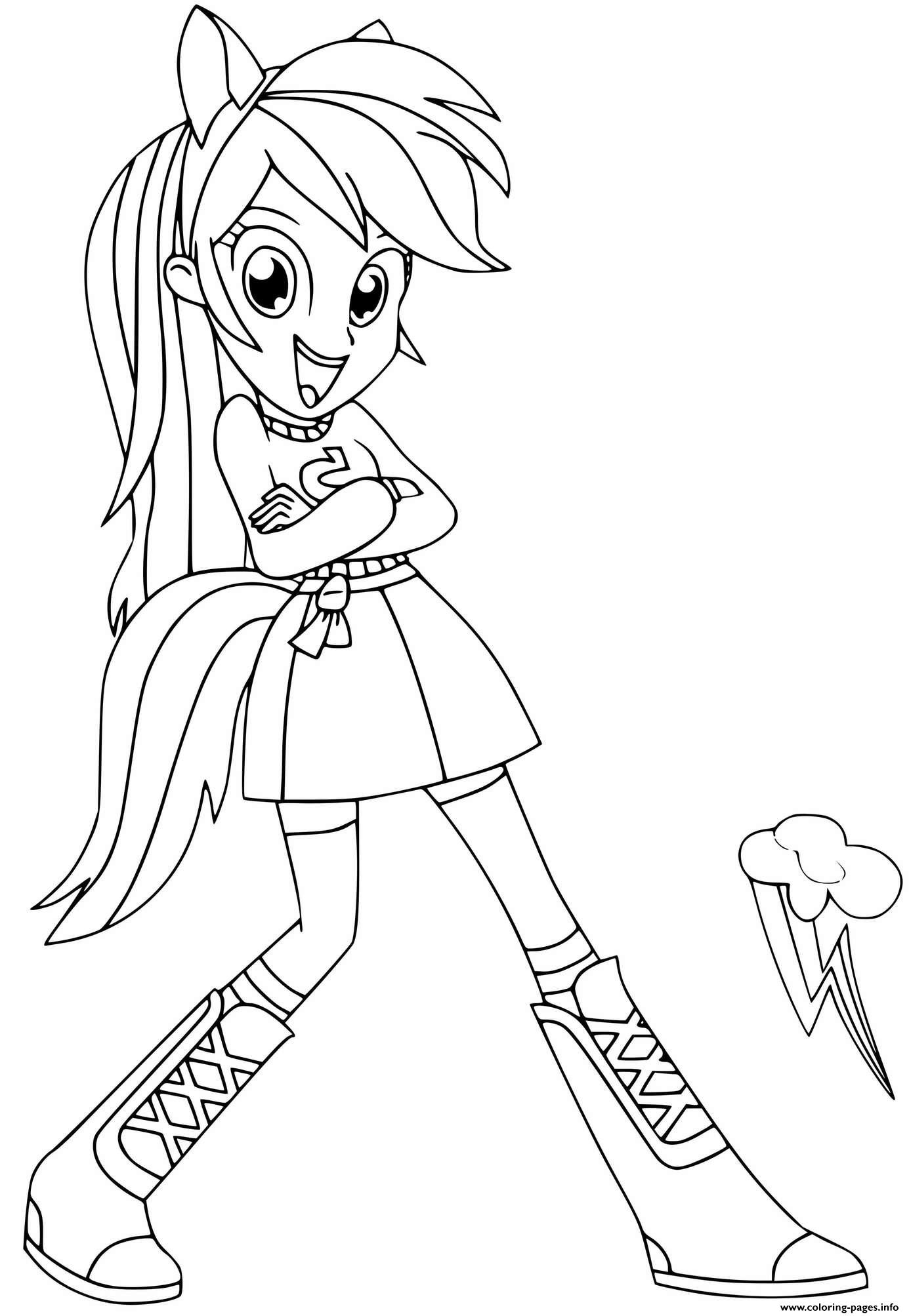 Rainbow Dash My Little Pony Equestria Girls Coloring Pages Printable