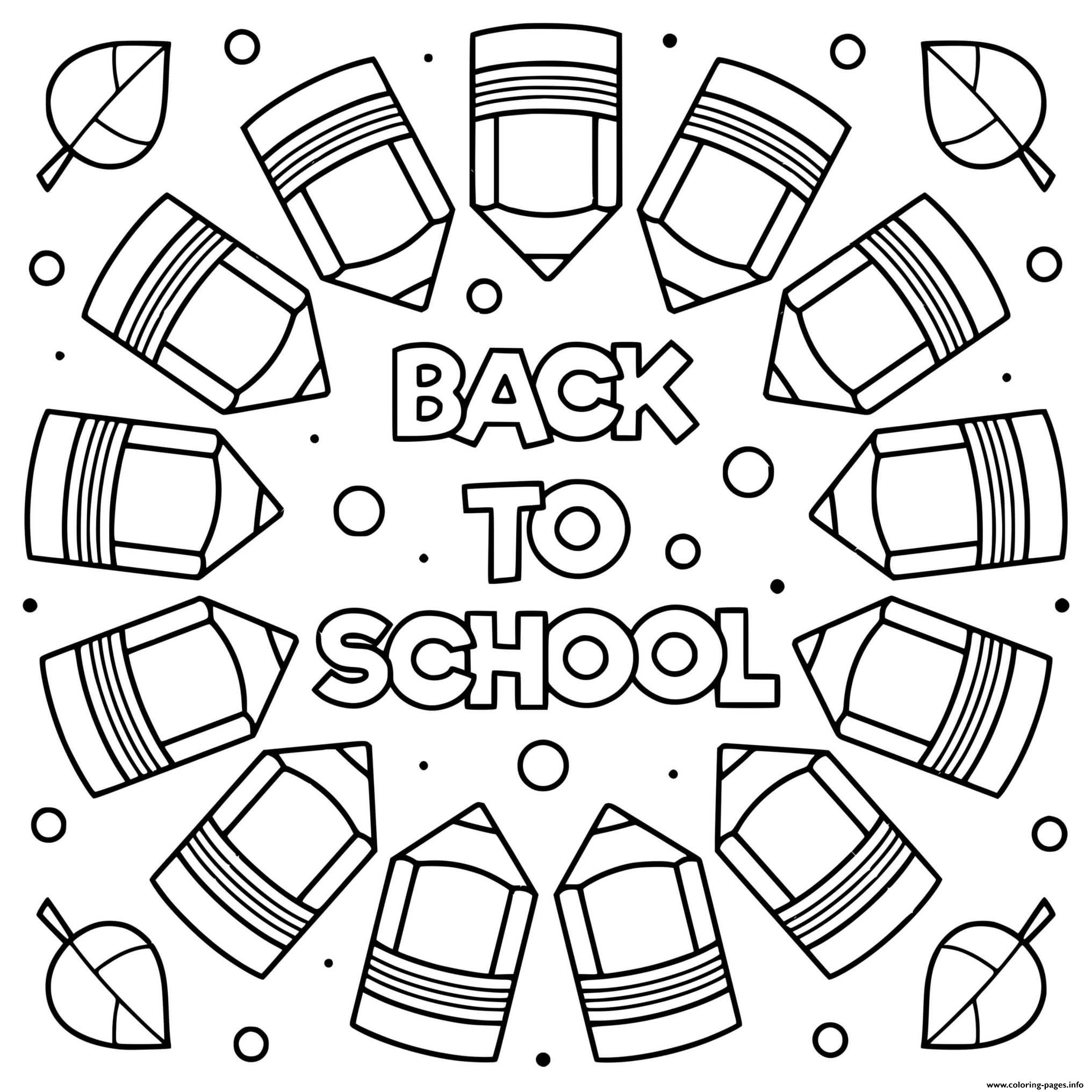 Back To School Sheets Mandala Pencils coloring pages