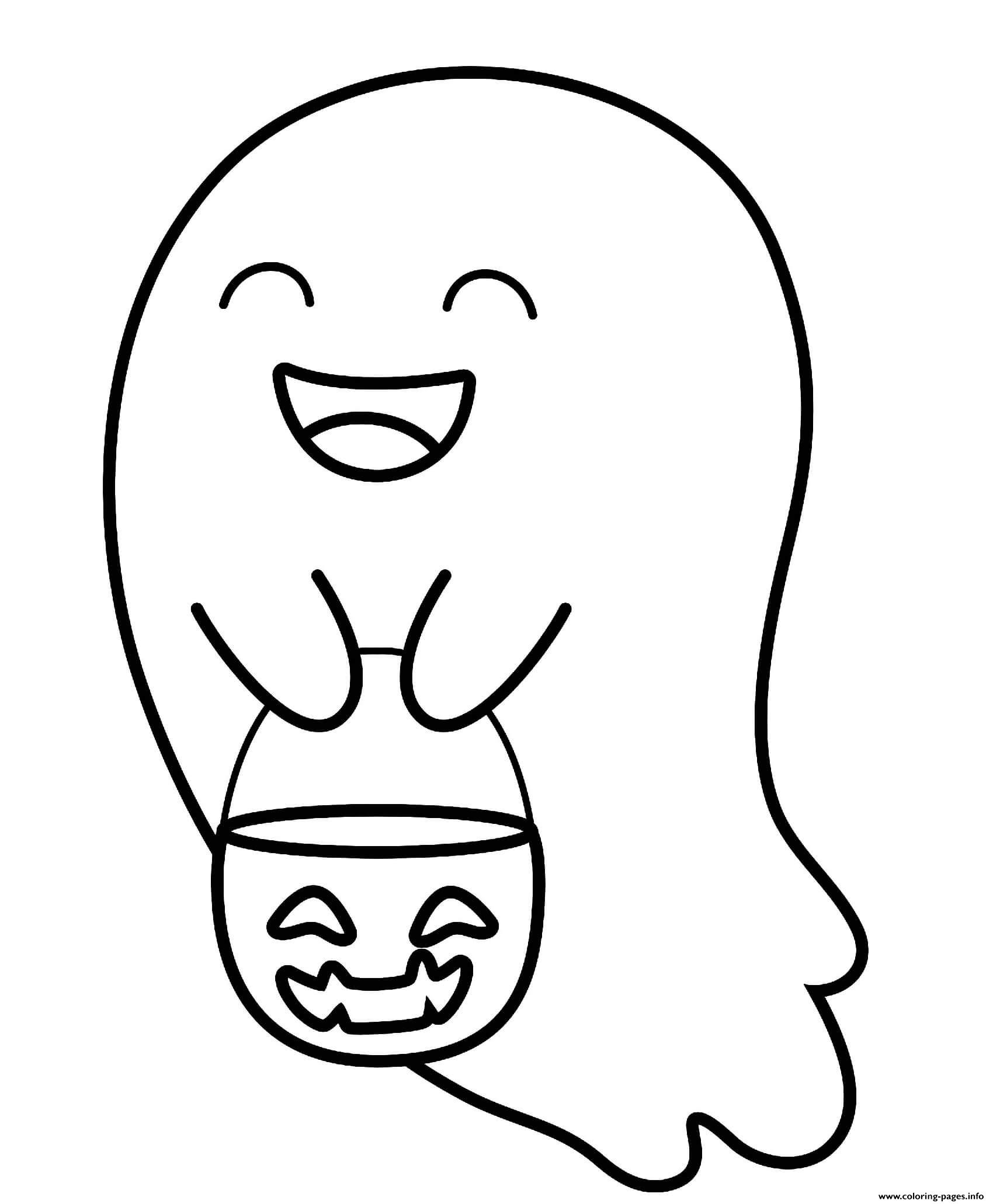Halloween Trick Treat Cute Ghost Coloring Pages Printable