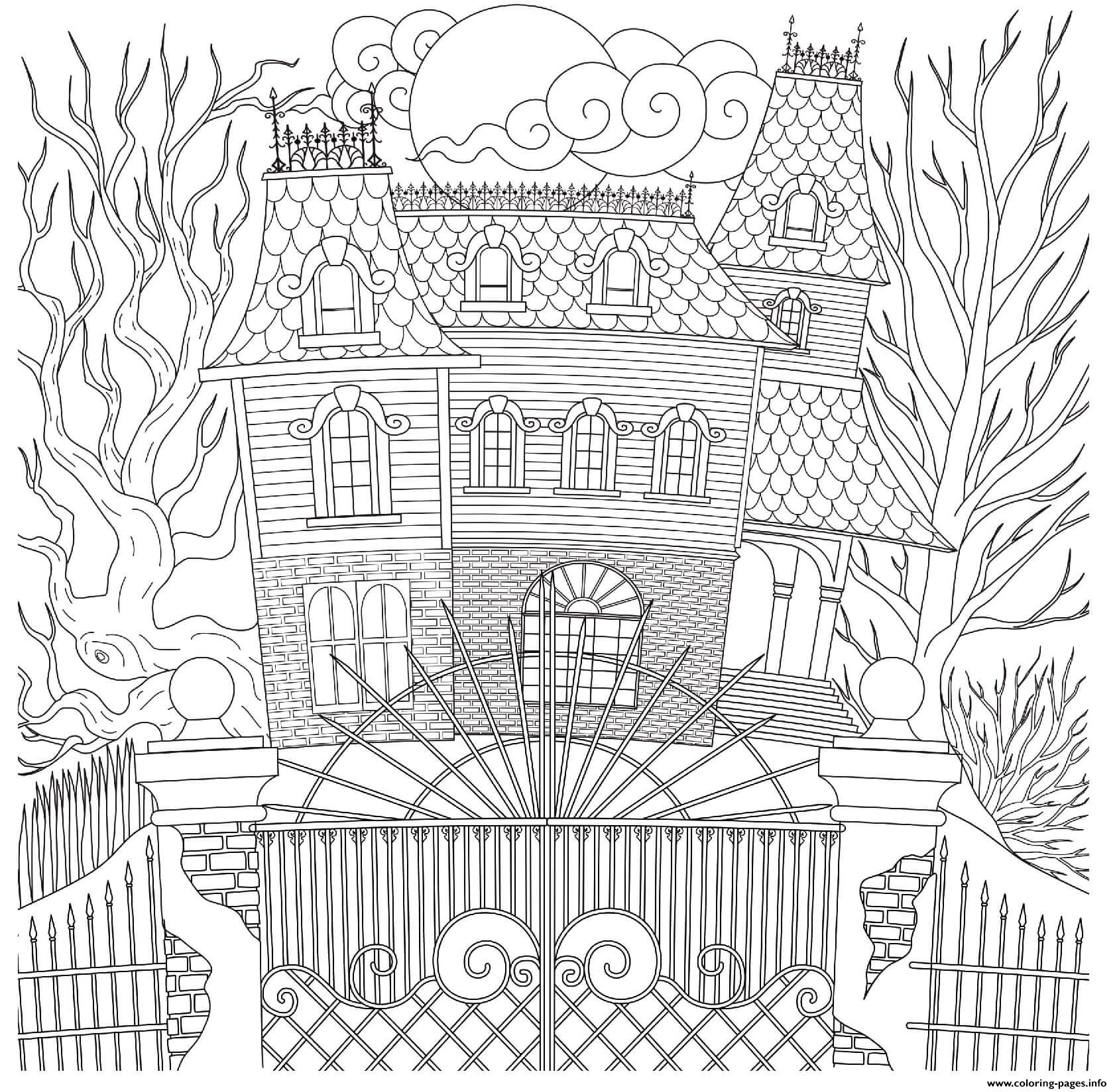 Halloween Spooky Haunted House Intricate Pattern Coloring Pages Printable