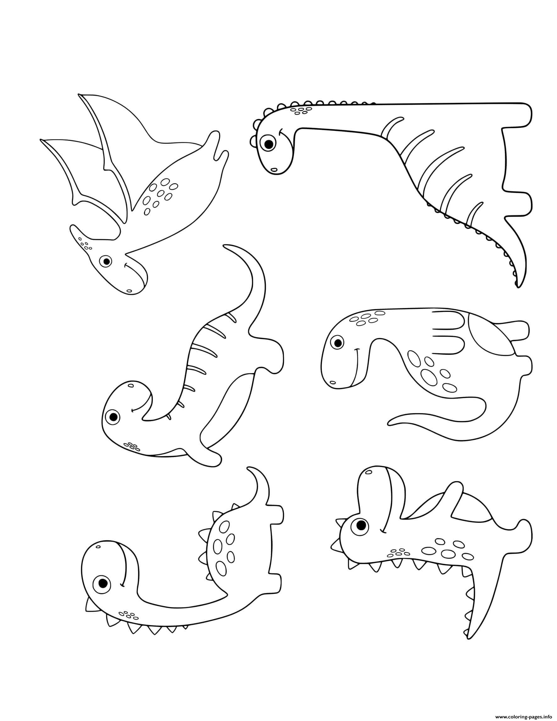 Dinosaur 6 Cute Dinos For Preschoolers 4 Coloring Pages ...