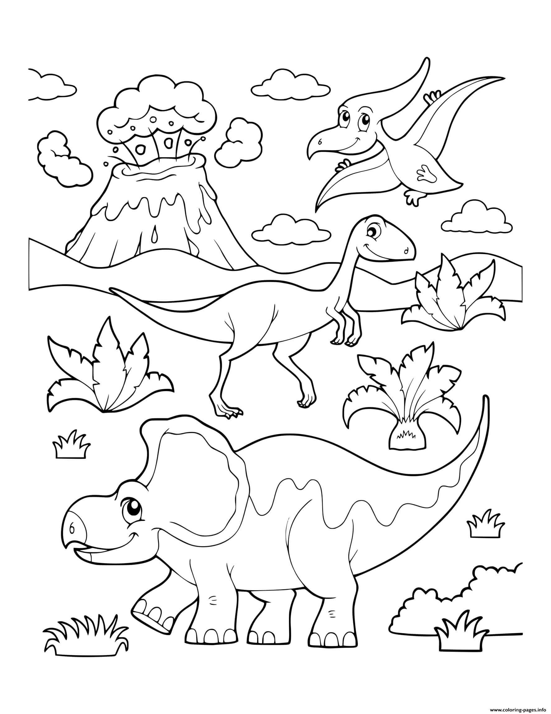 Dinosaur Prehistoric Dinosaur Scene Erupting Volcano Coloring Pages Printable