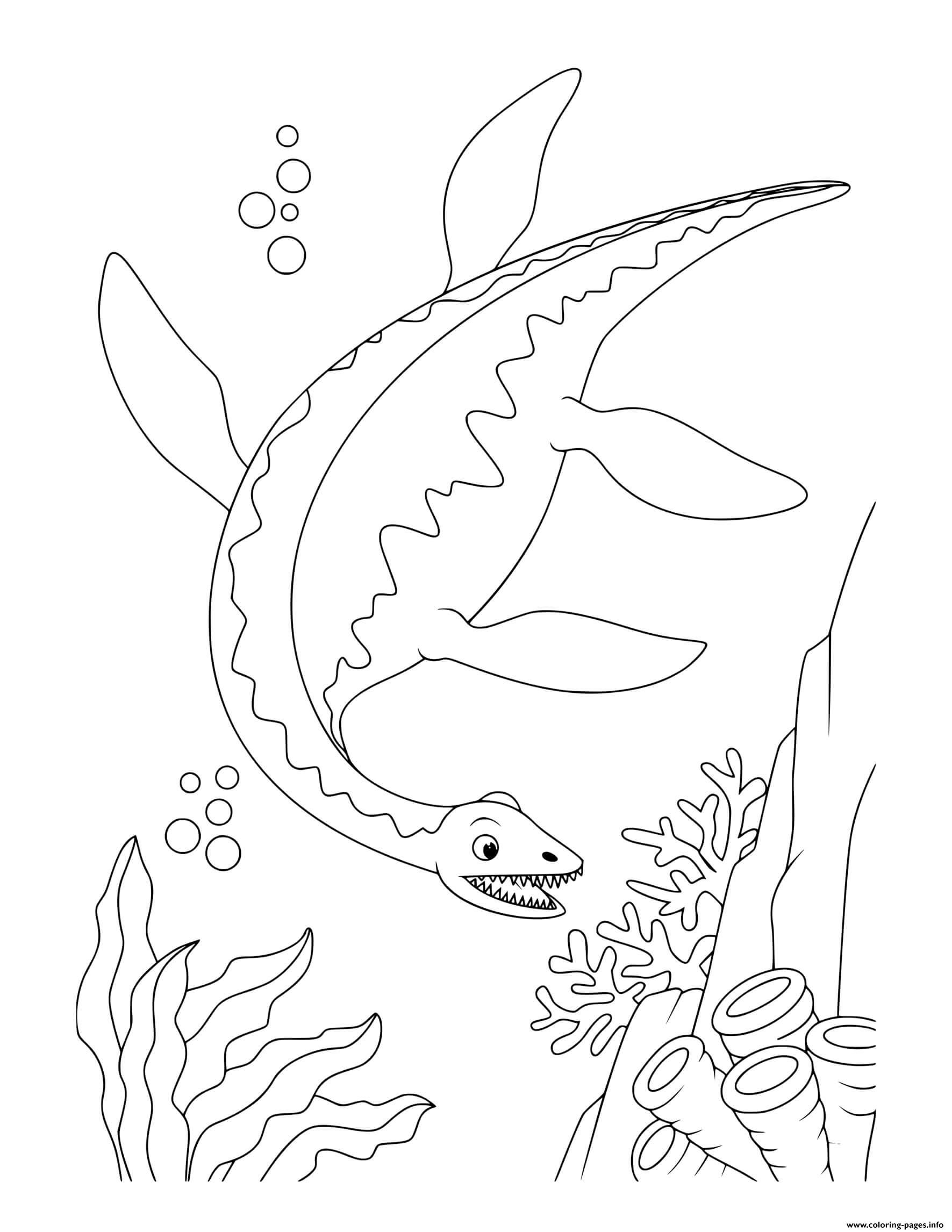Dinosaur Plesiosaurus Swimming Under Water Coloring Pages ...