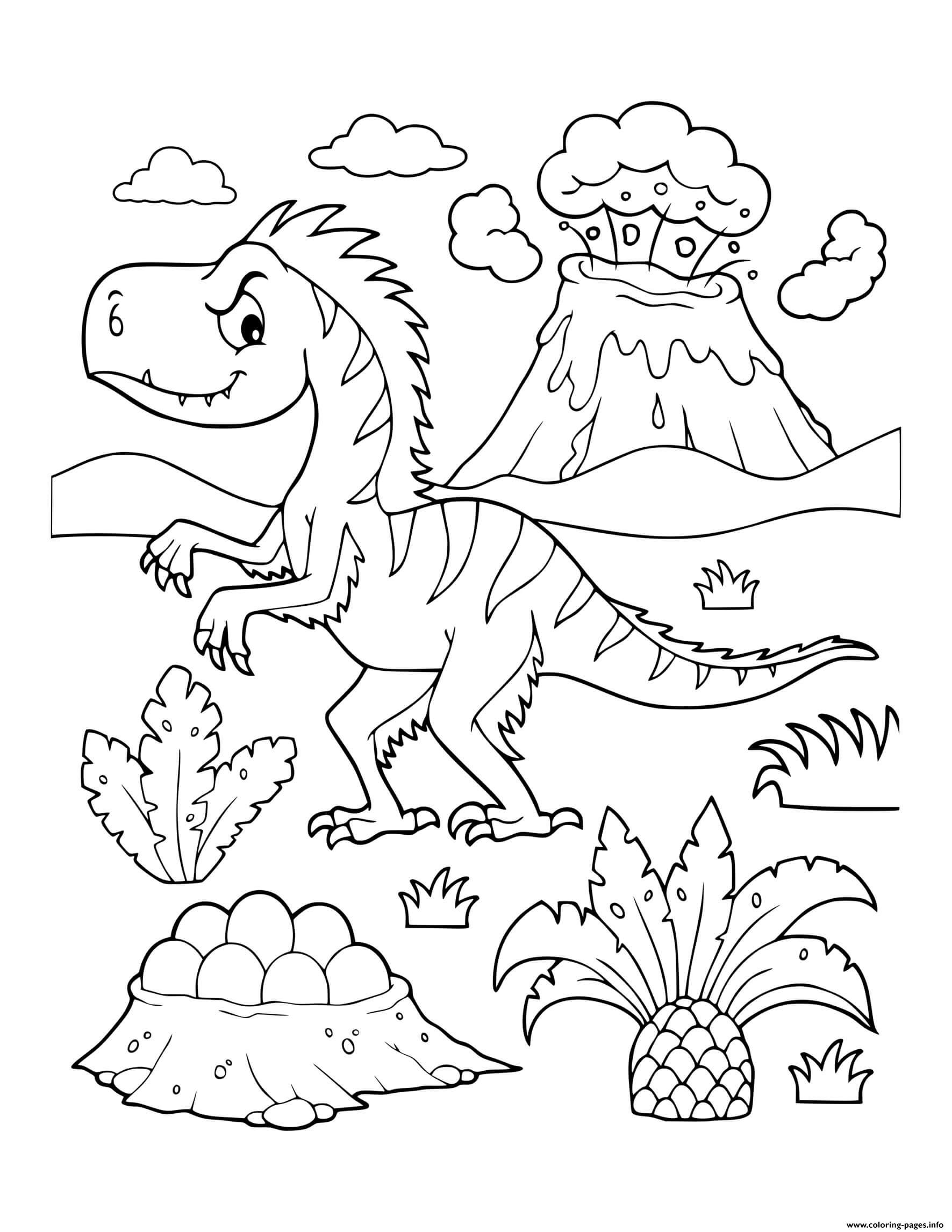 Dinosaur Prehistoric Feathered Dinosaur Erupting Volcano Coloring Pages Printable