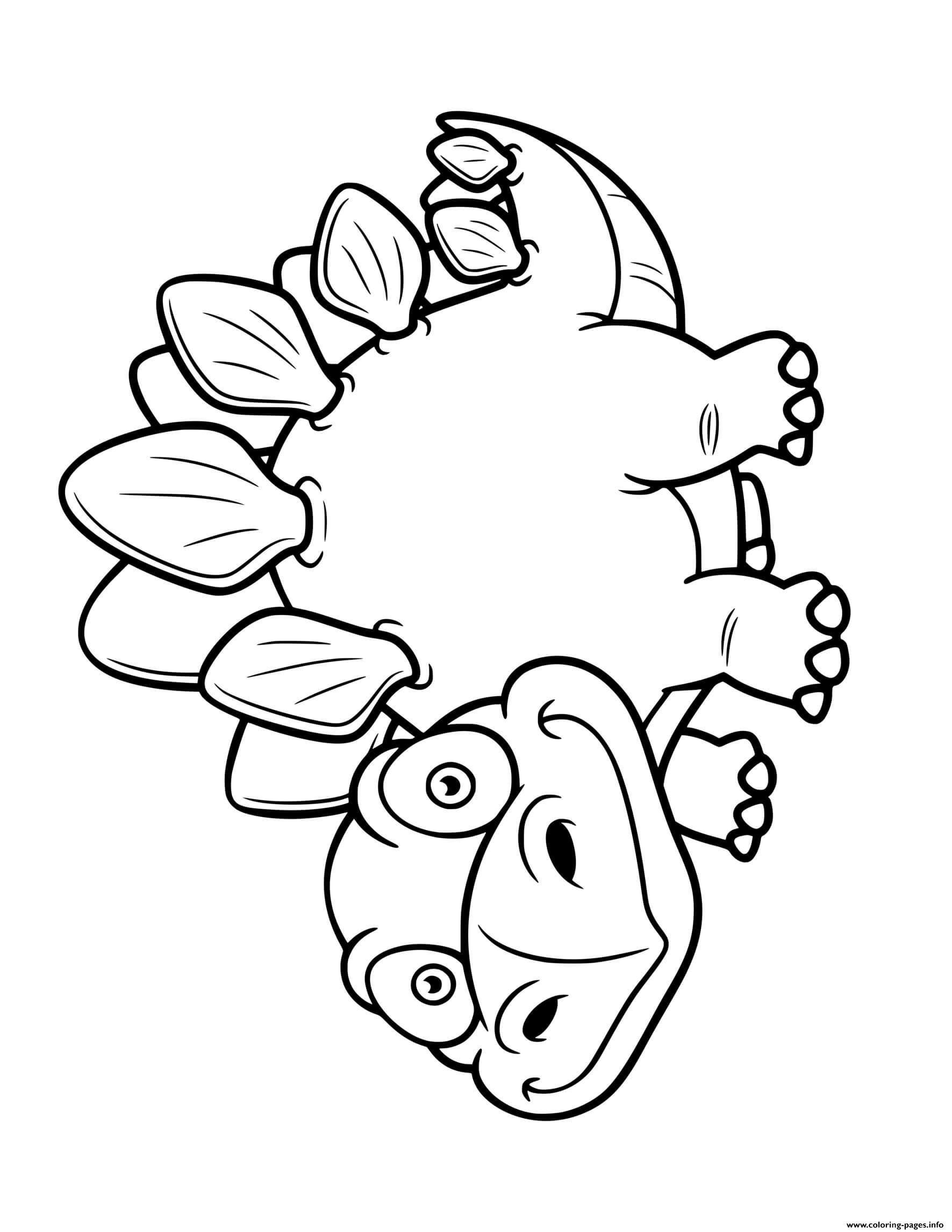 Dinosaur Cute Cartoon Stegosaurus Coloring Pages Printable