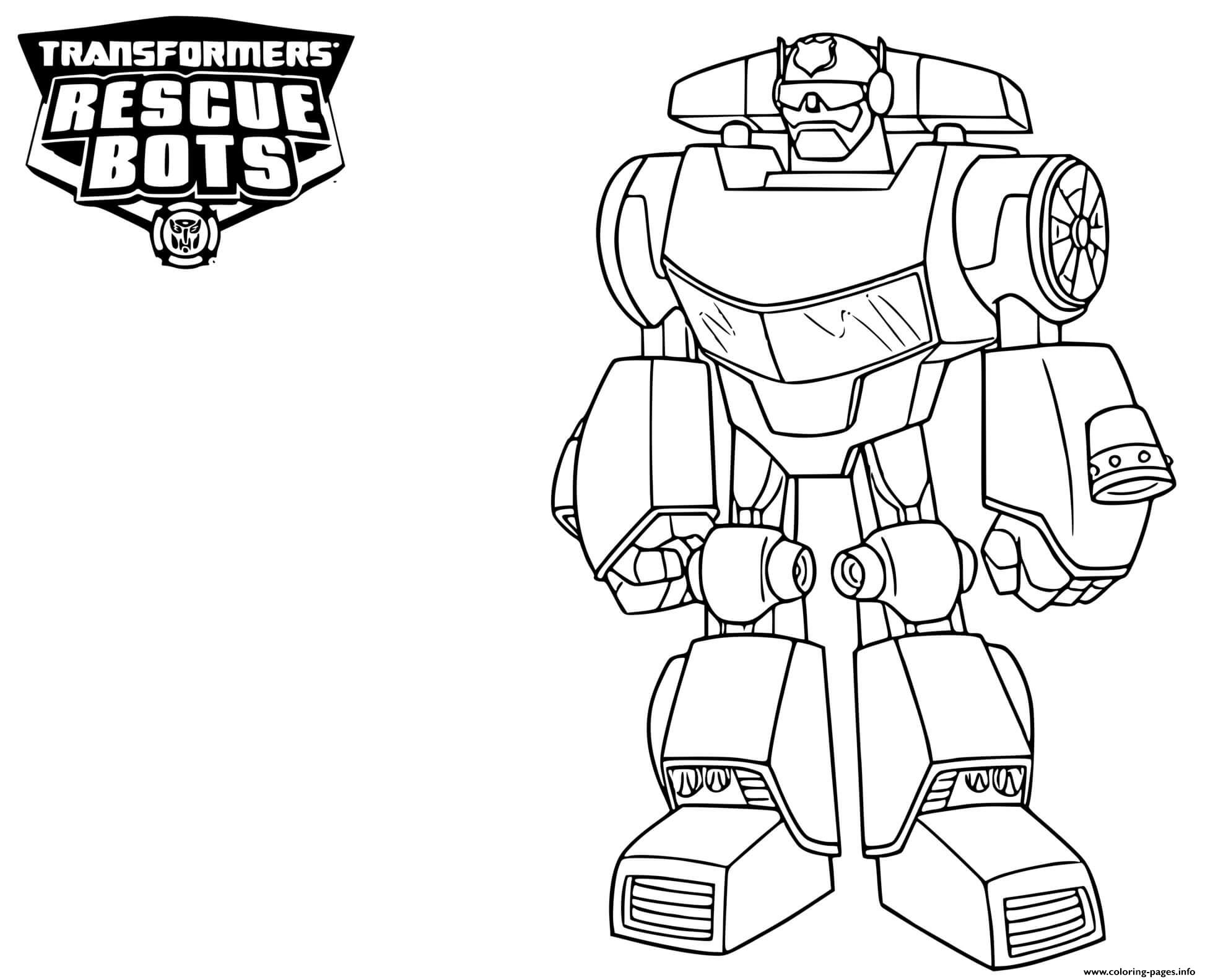 Transformers Rescue Bots Chase Coloring Pages Printable